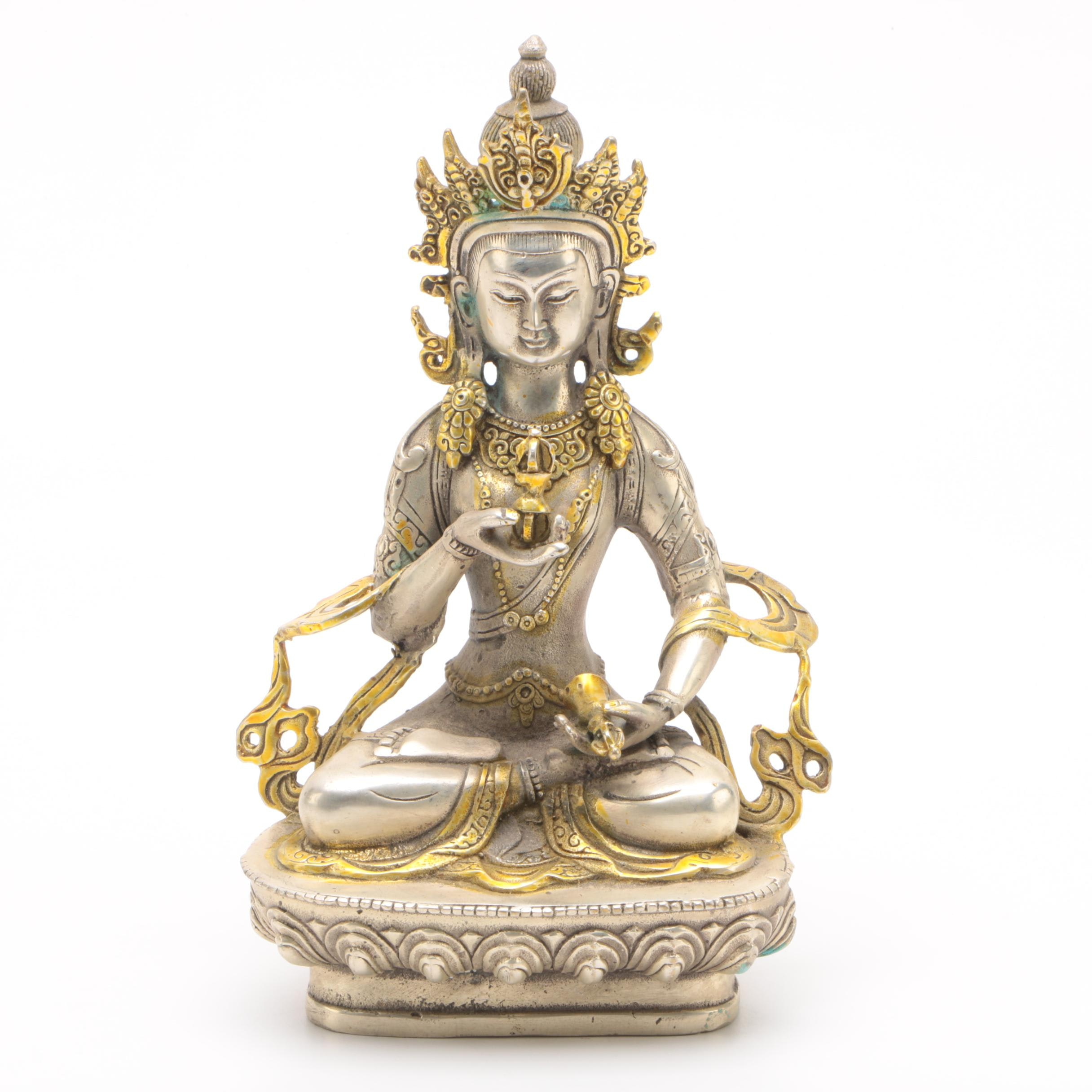 Tibetan Style Silver Toned Metal Vajrasattva Figurine with Gold Toned Accents