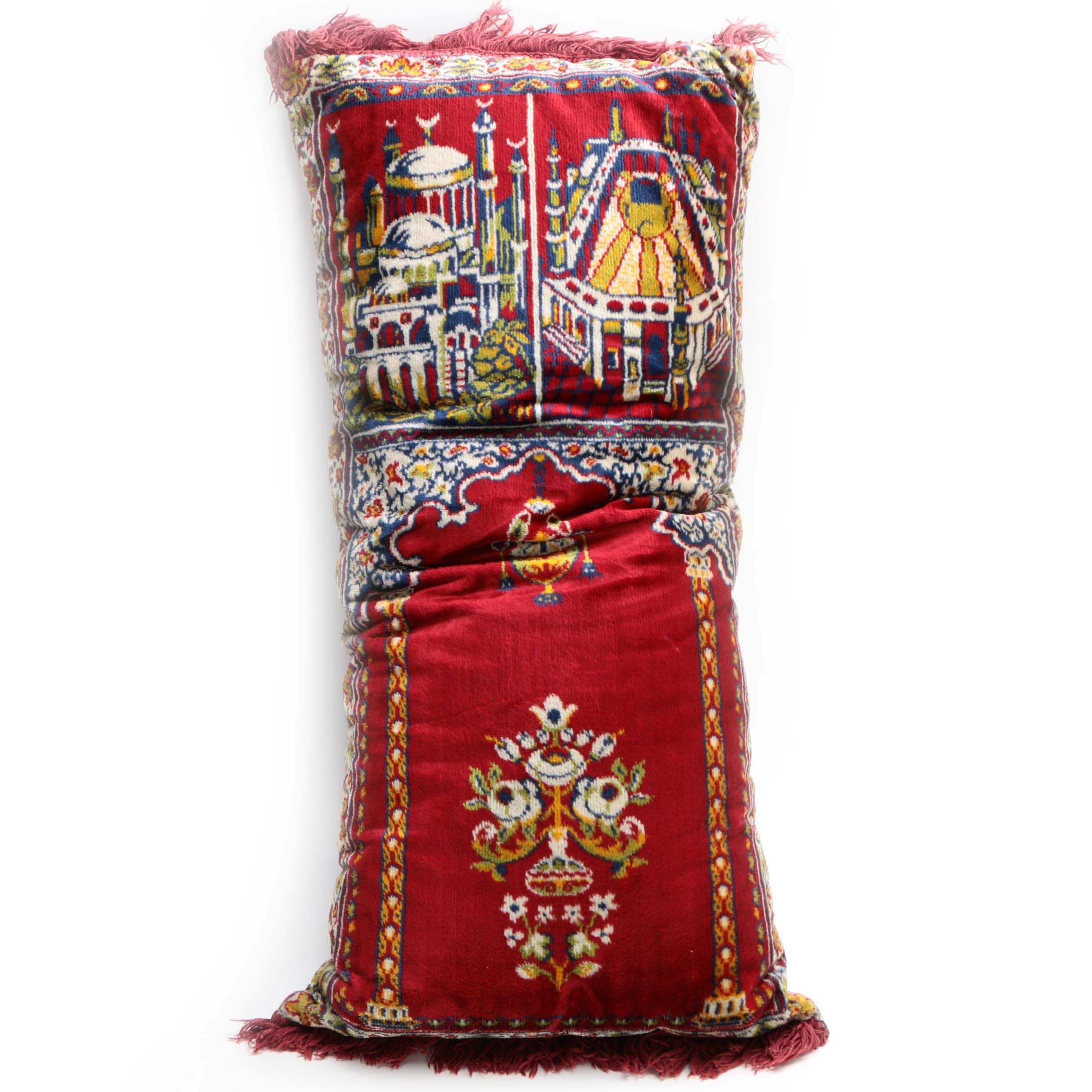 Machine Made Persian-Style Prayer Rug Accent Pillow