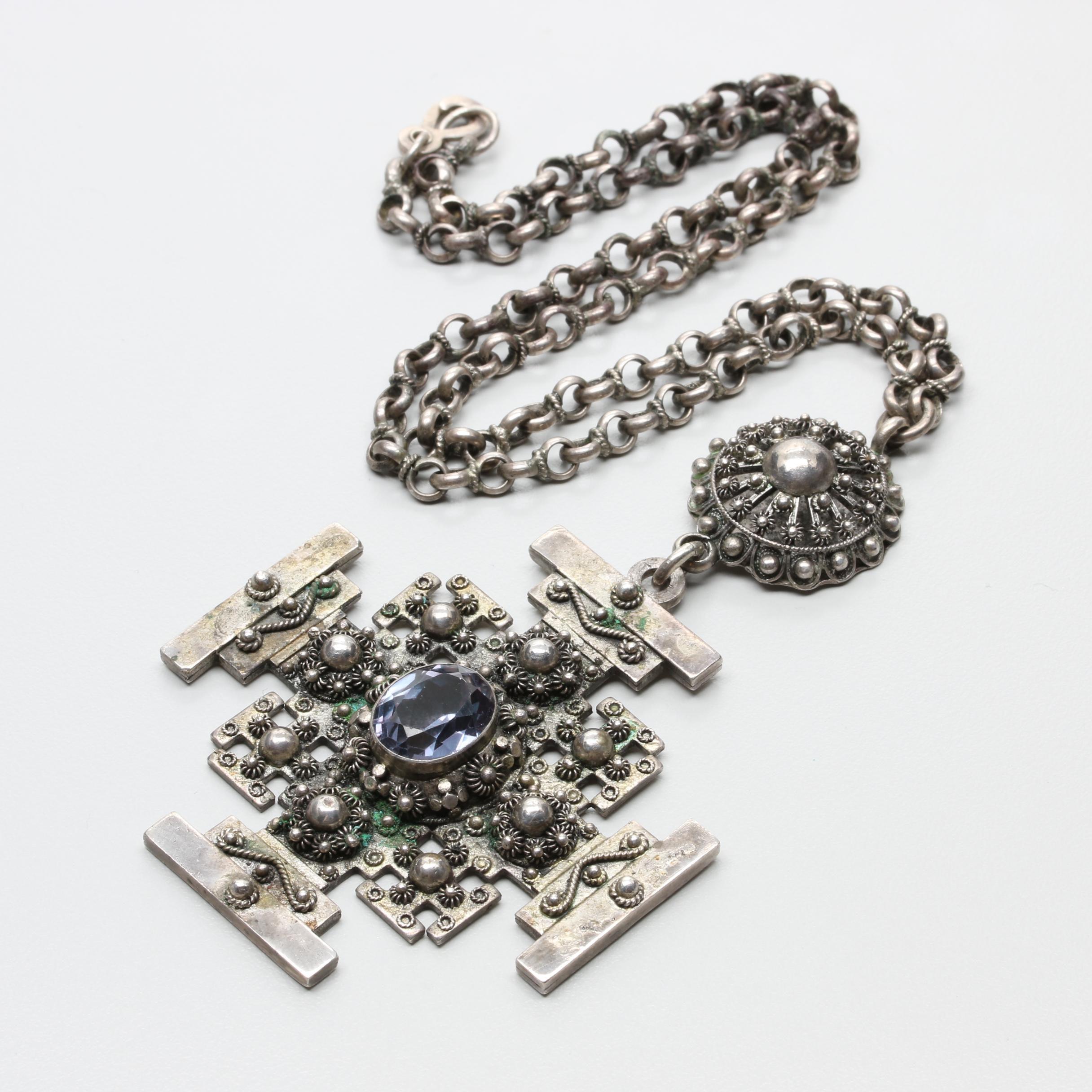 Vintage Sterling Silver Synthetic Color Change Sapphire Jerusalem Cross Necklace