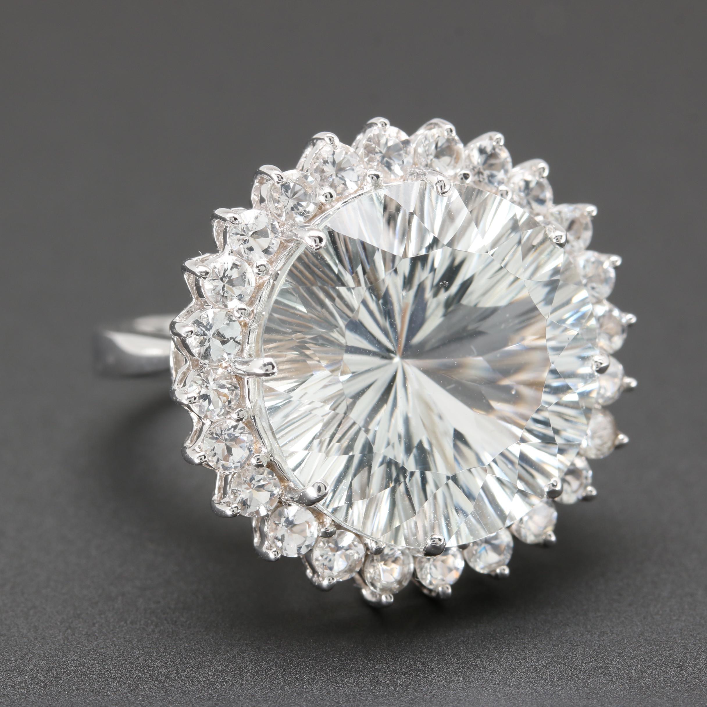 14K White Gold White Topaz Ring