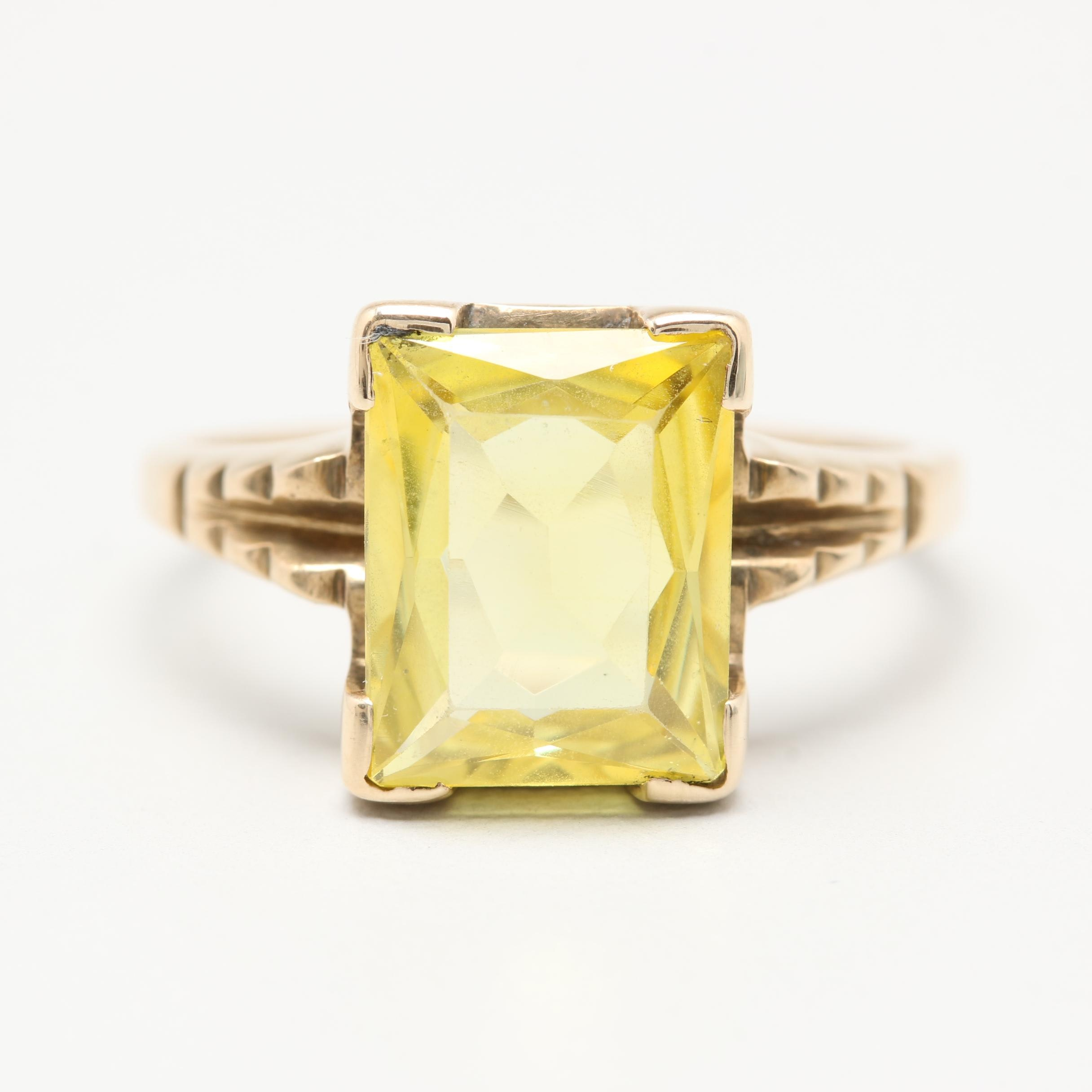 HandWrought 10K Yellow Gold Synthetic Yellow Sapphire Ring