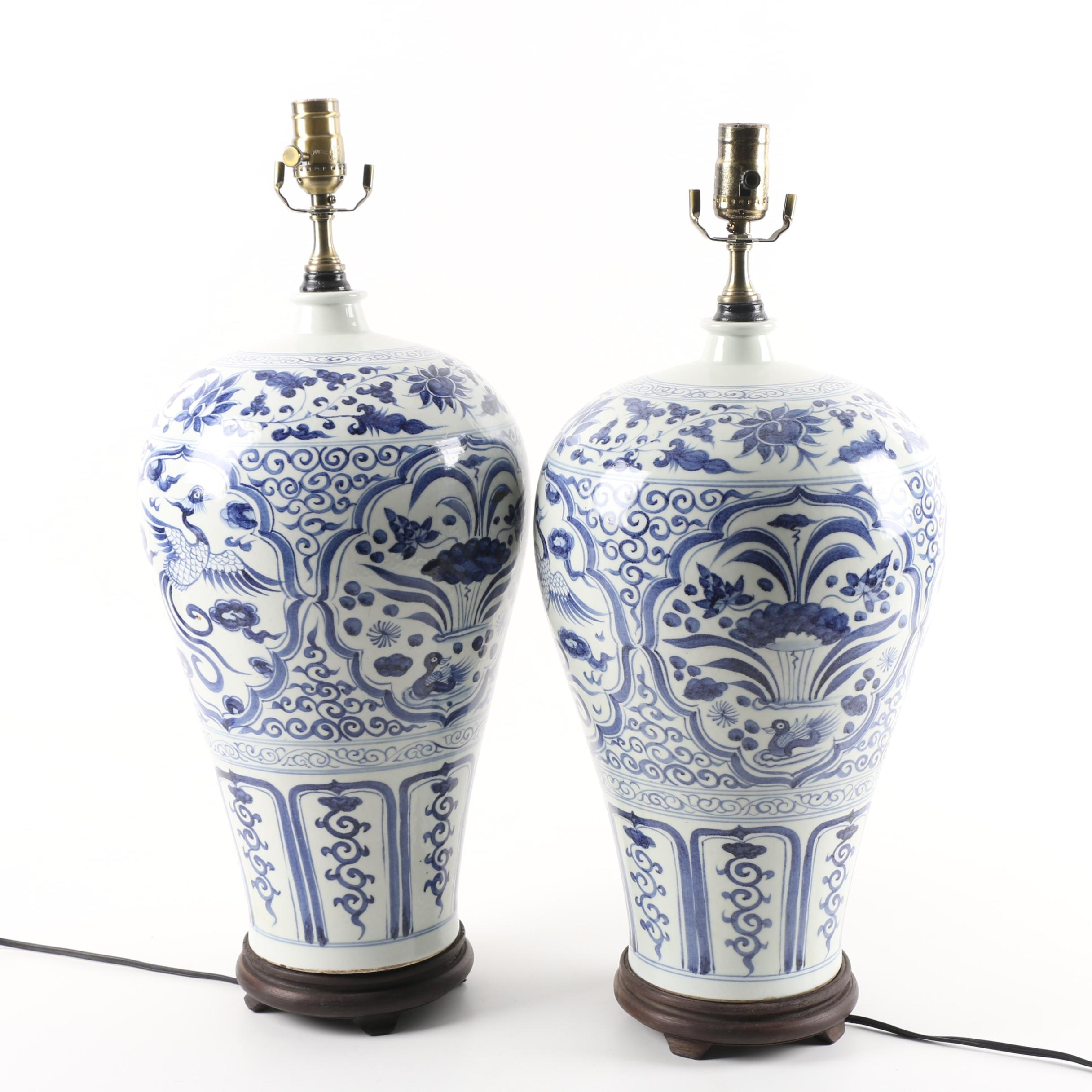 Chinese Blue and White Porcelain Urn Style Lamps