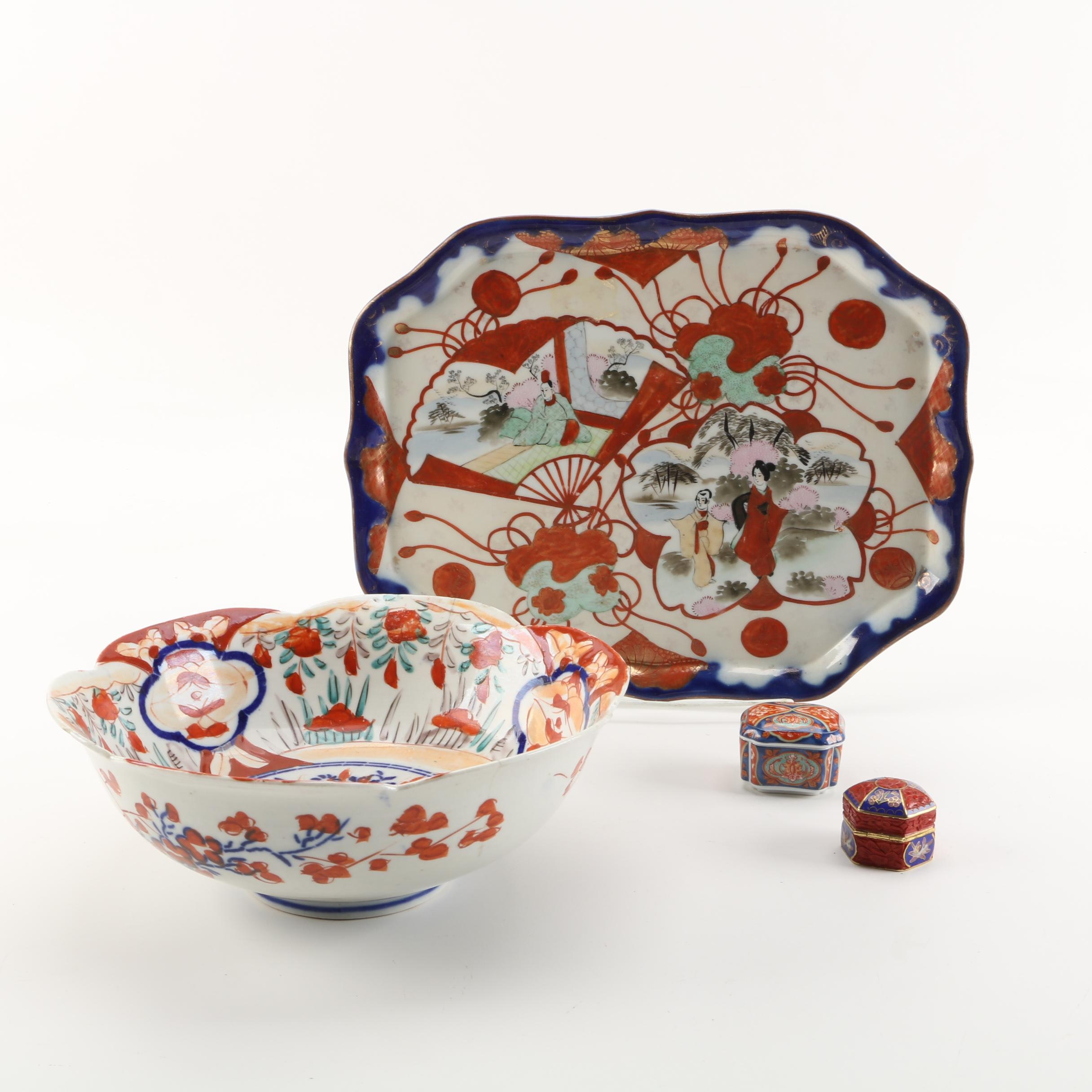 Japanese Meiji Period Imari Bowl with Vintage Kutani Platter and Trinket Boxes