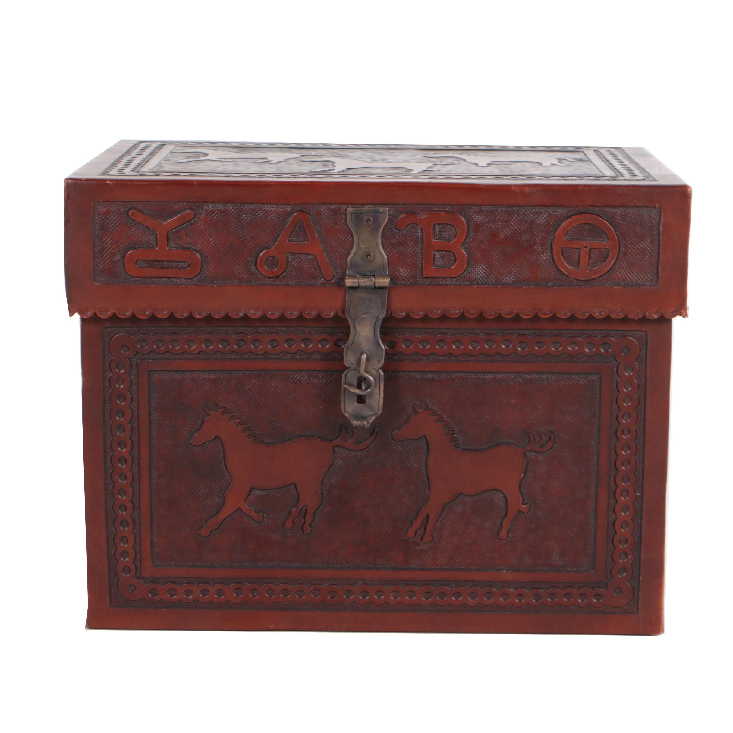 Embossed Leather and Wood Miniature Trunk