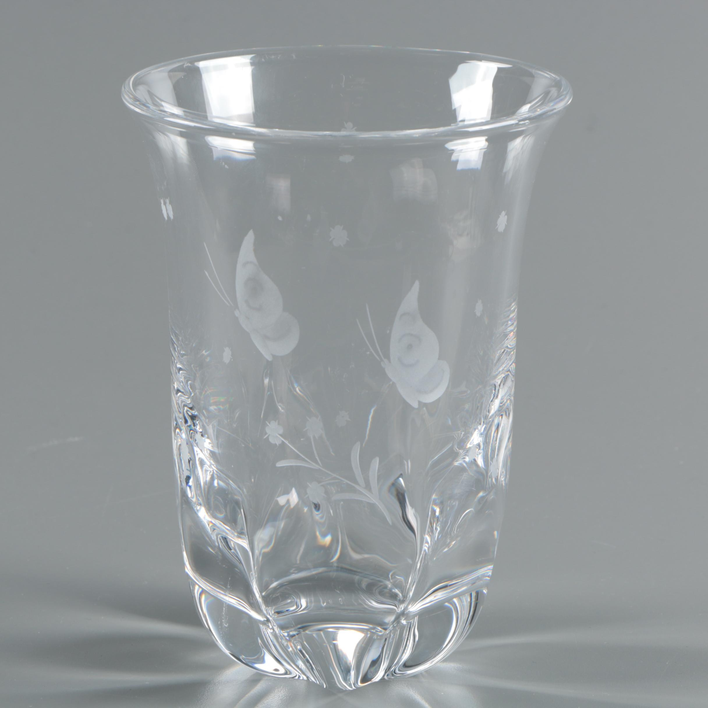 Vintage Signed Scandinavian Etched Butterfly Crystal Vase