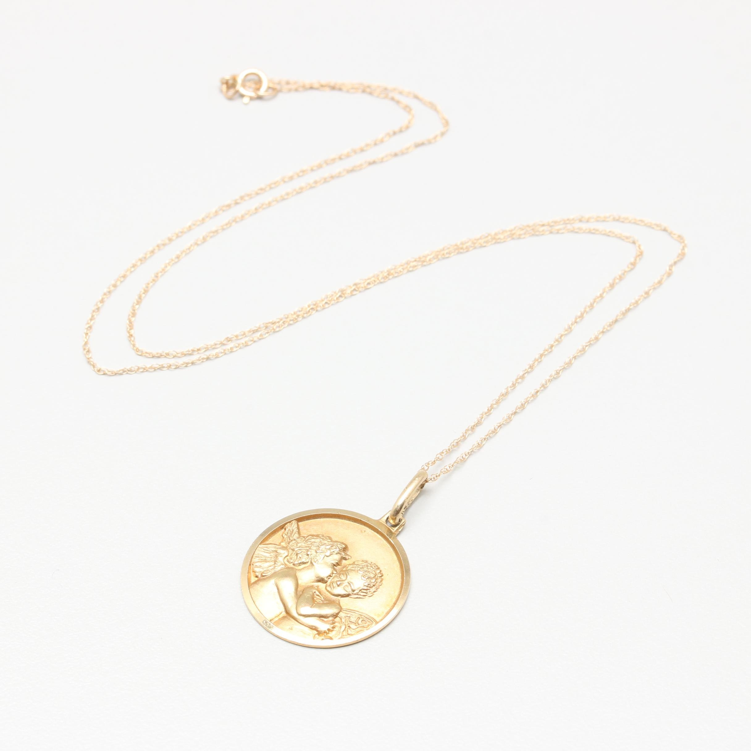 14K Yellow Gold Cupid and Psyche Medallion Necklace