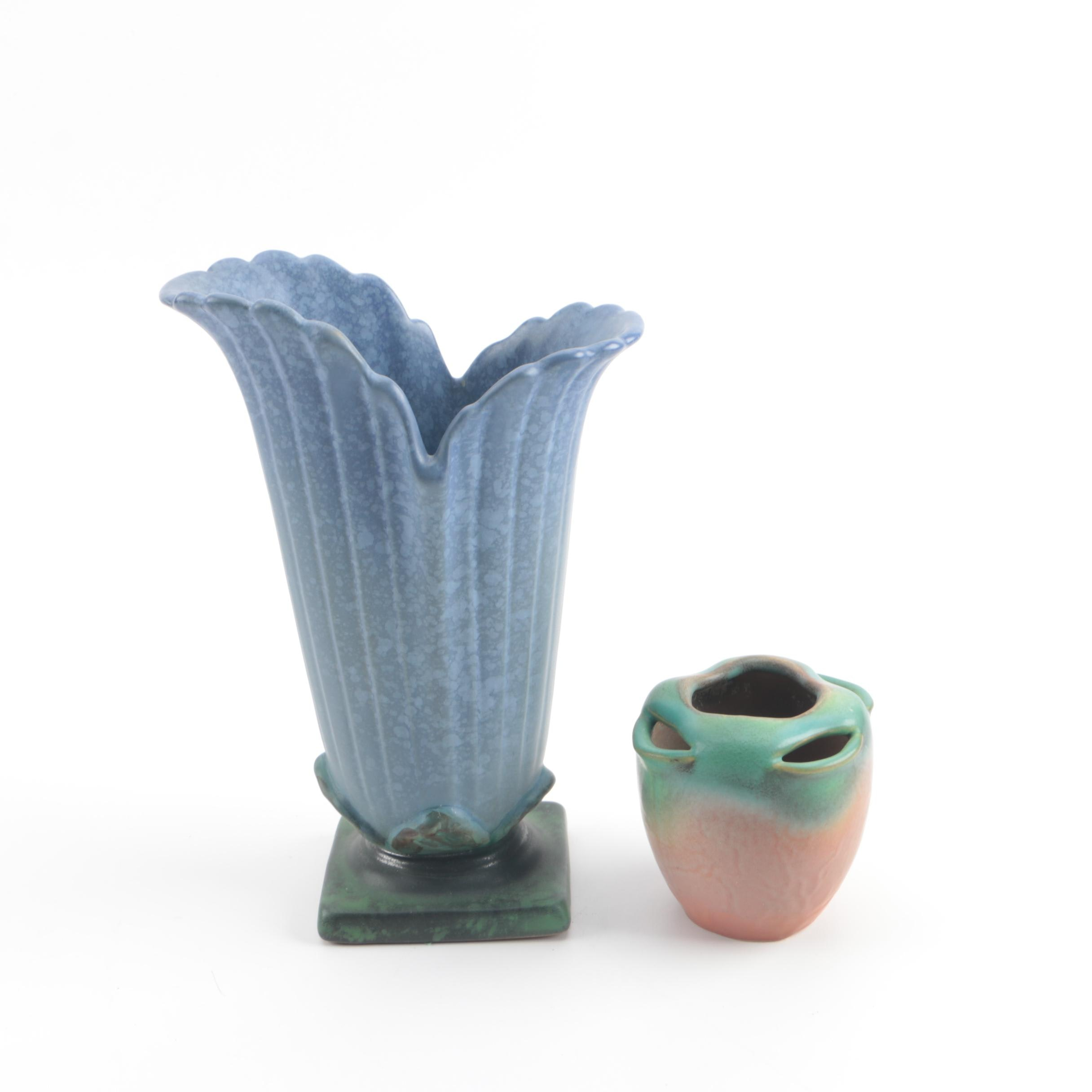 """Weller Pottery including """"Elberta"""" Strawberry Planter and """"Sydonia"""" Blue Vase"""