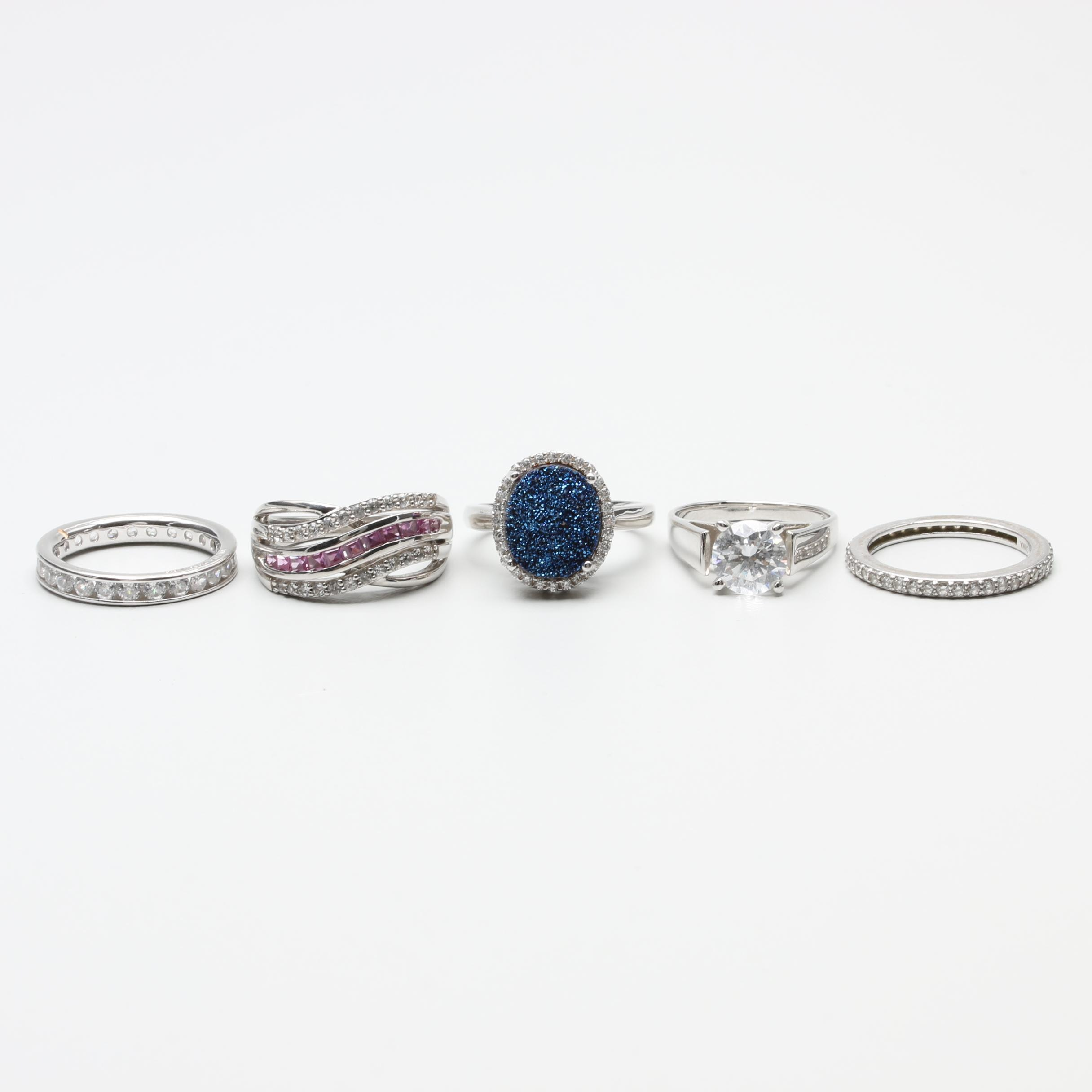 Sterling Silver and 14K White Gold Ring Assortment Including Synthetic Sapphire