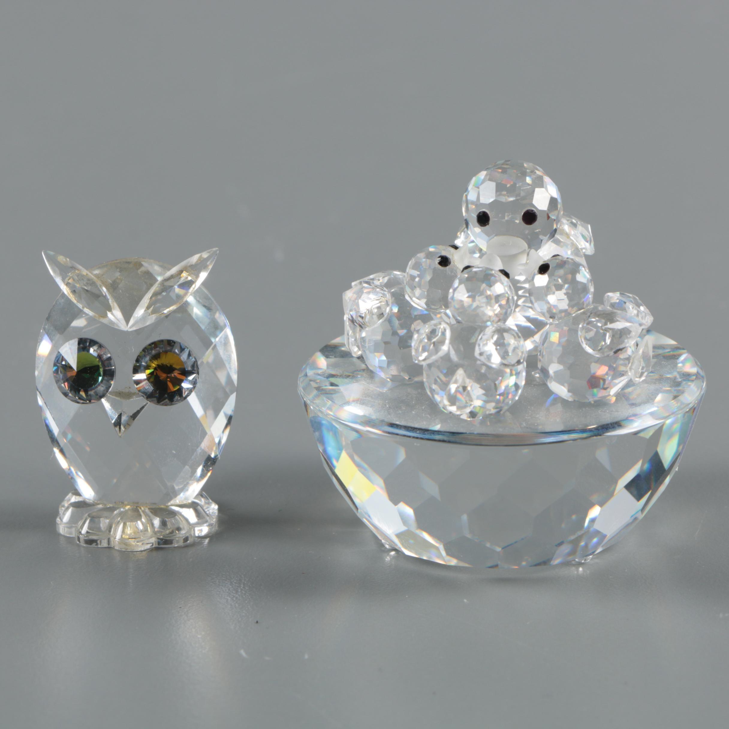 "Vintage Swarovski Crystal ""Bird's Nest"" and Owl Figurines"