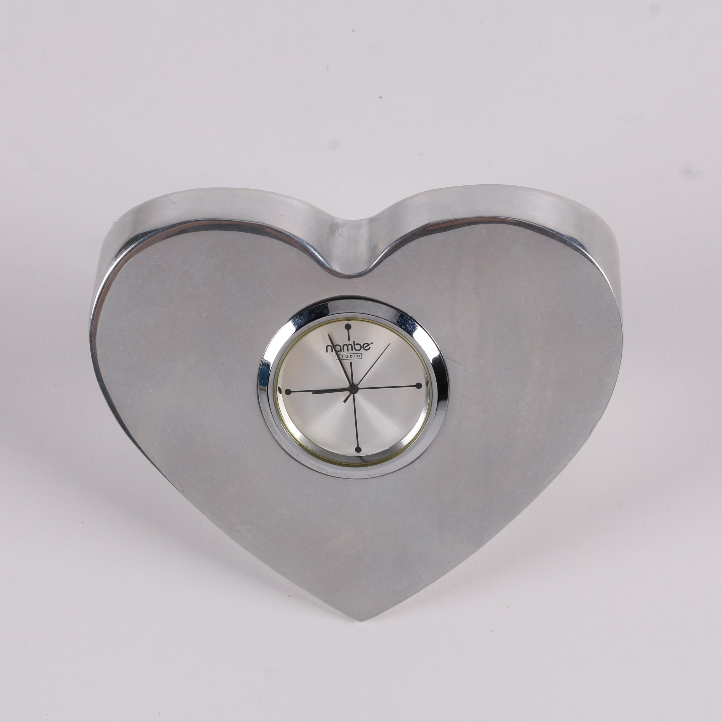 1998 Nambé Studio Heart Shaped Desk Clock