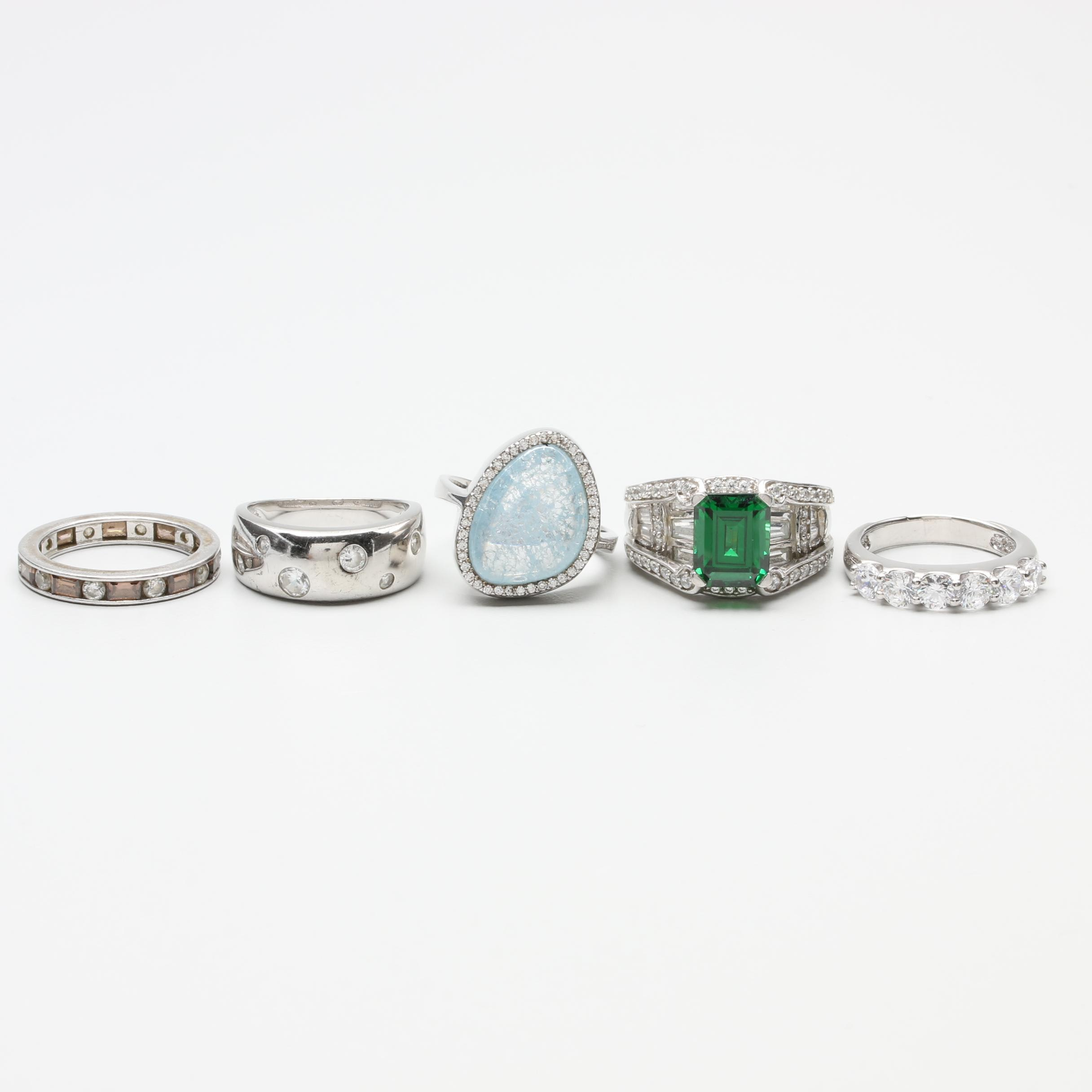 Sterling Silver Cubic Zirconia and Glass Ring Selection