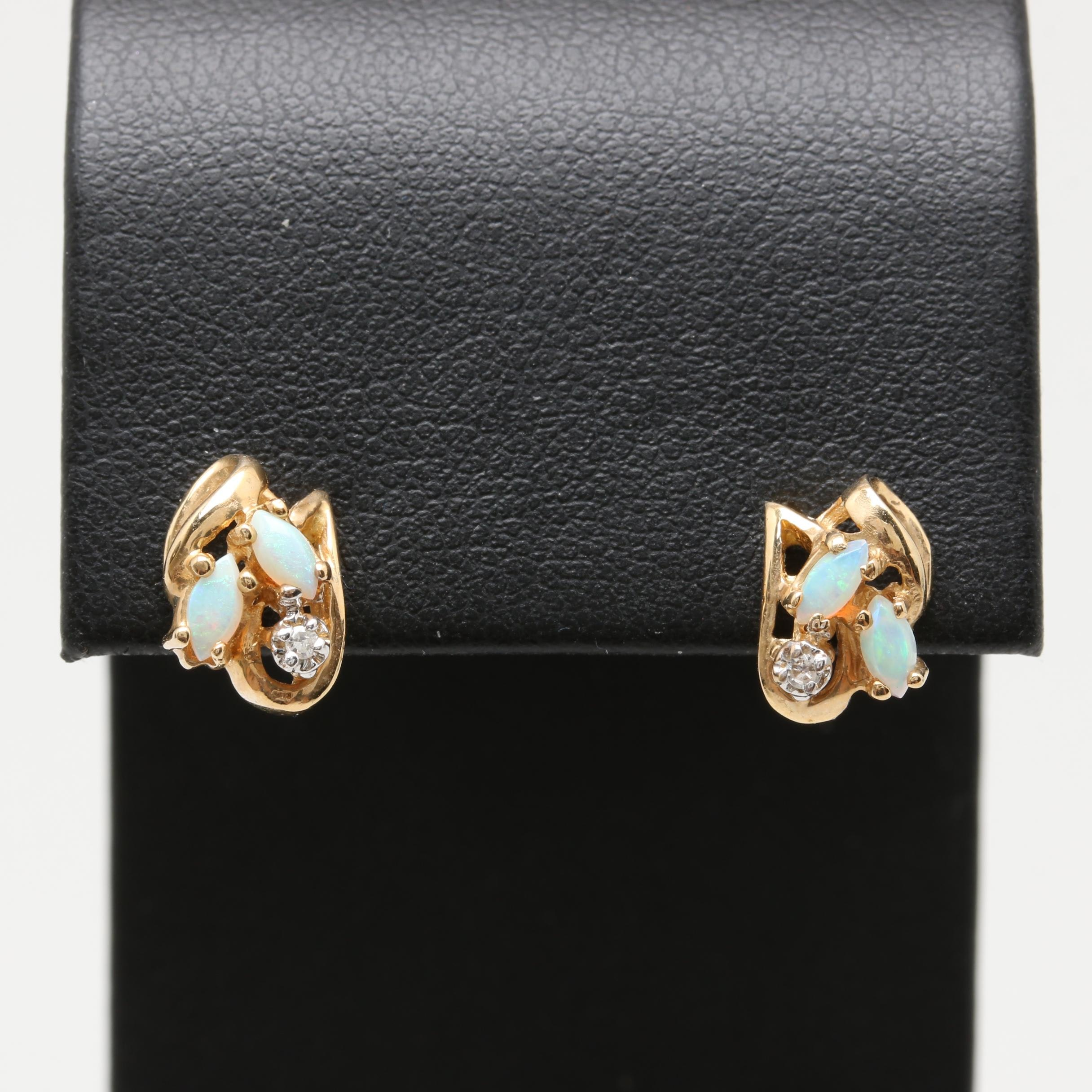 10K and 14K Yellow Gold Diamond and Opal Earrings