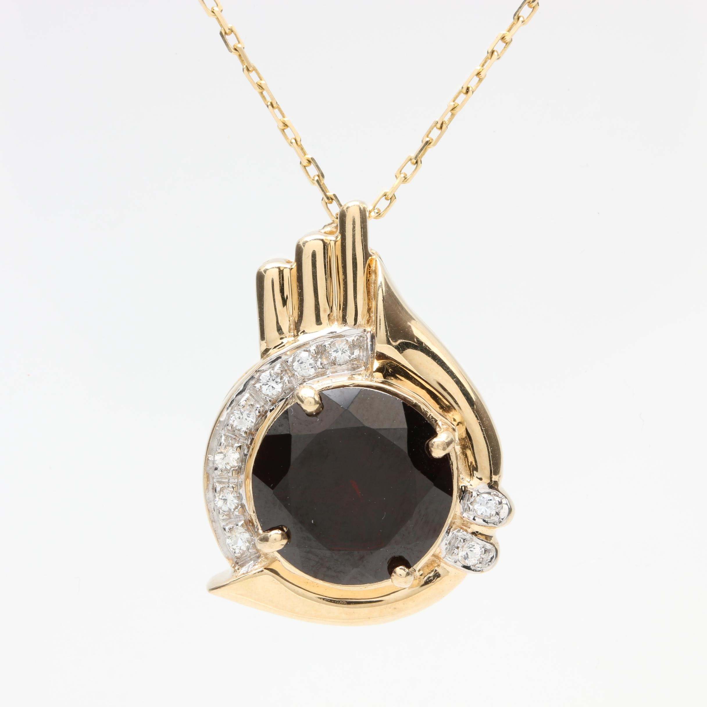14K Yellow Gold Garnet and White Sapphire Pendant Necklace