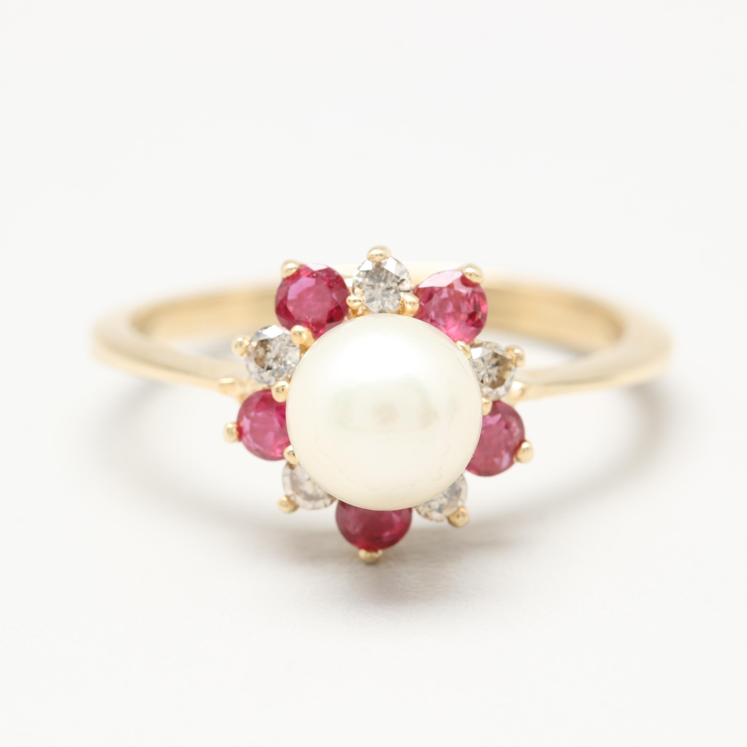 14K Yellow Gold Cultured Pearl, Diamond, and Ruby Ring