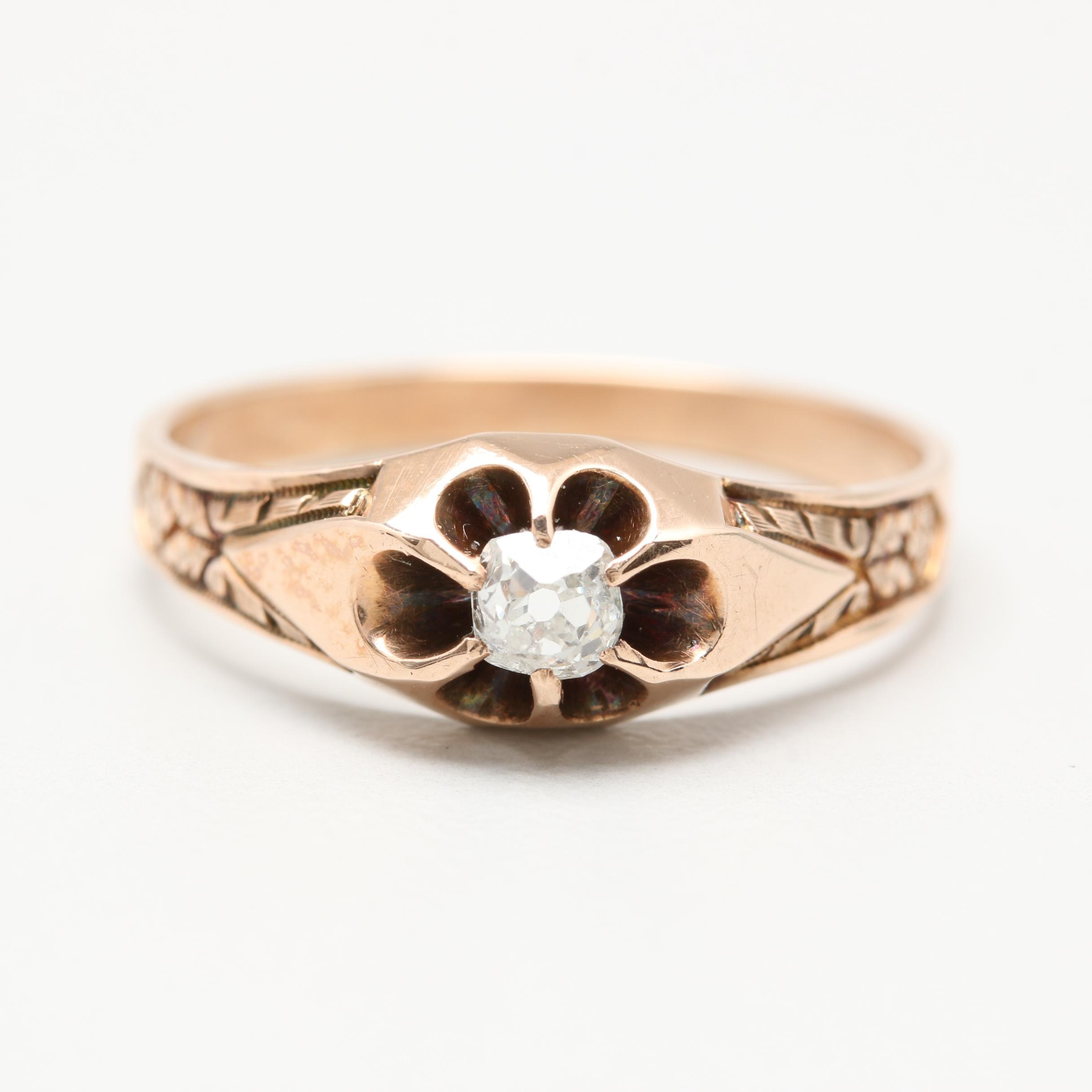 Victorian 10K Yellow Gold Diamond Belcher Ring