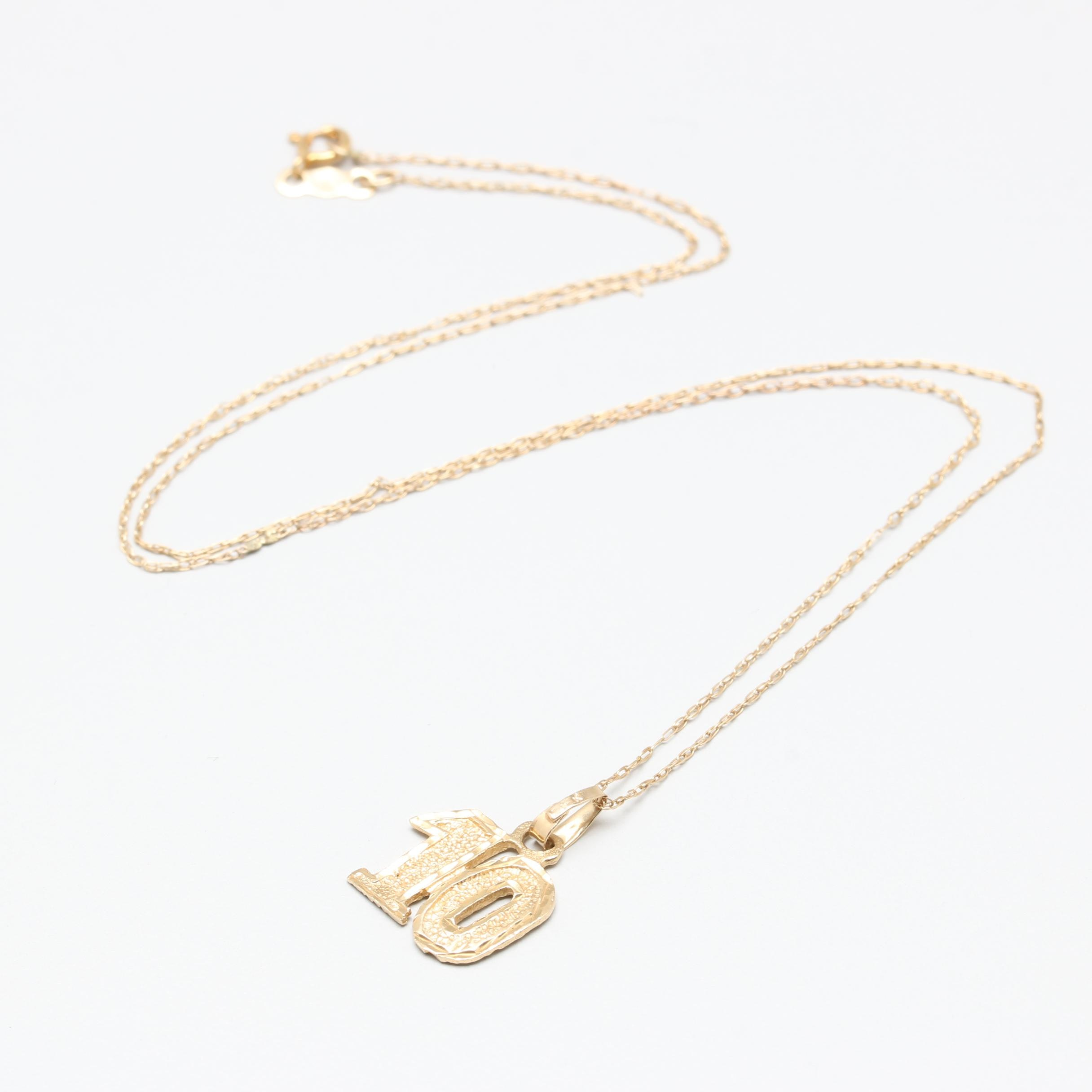 14K Yellow Gold Number 10 Pendant Necklace