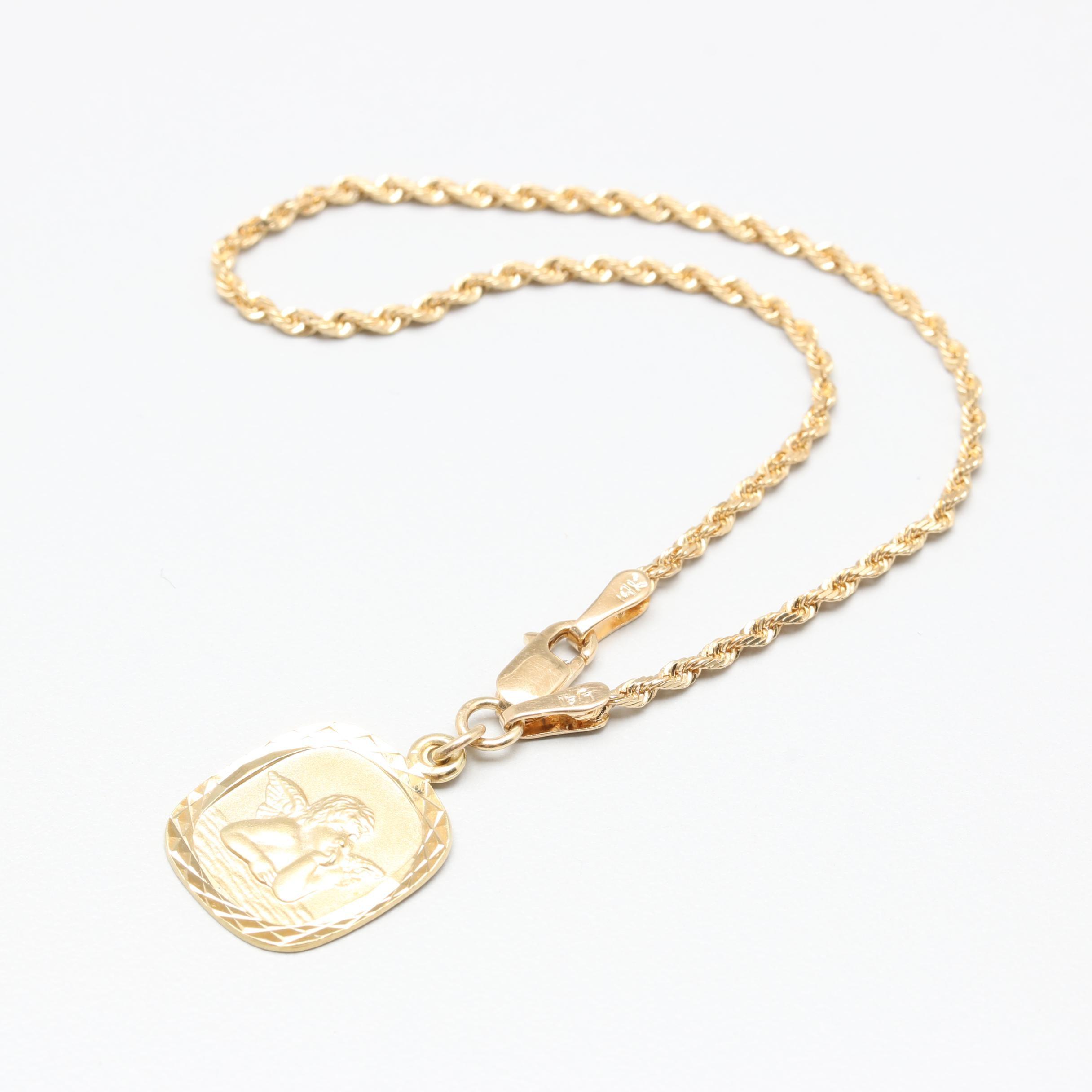 14K Yellow Gold Angel Charm Rope Bracelet