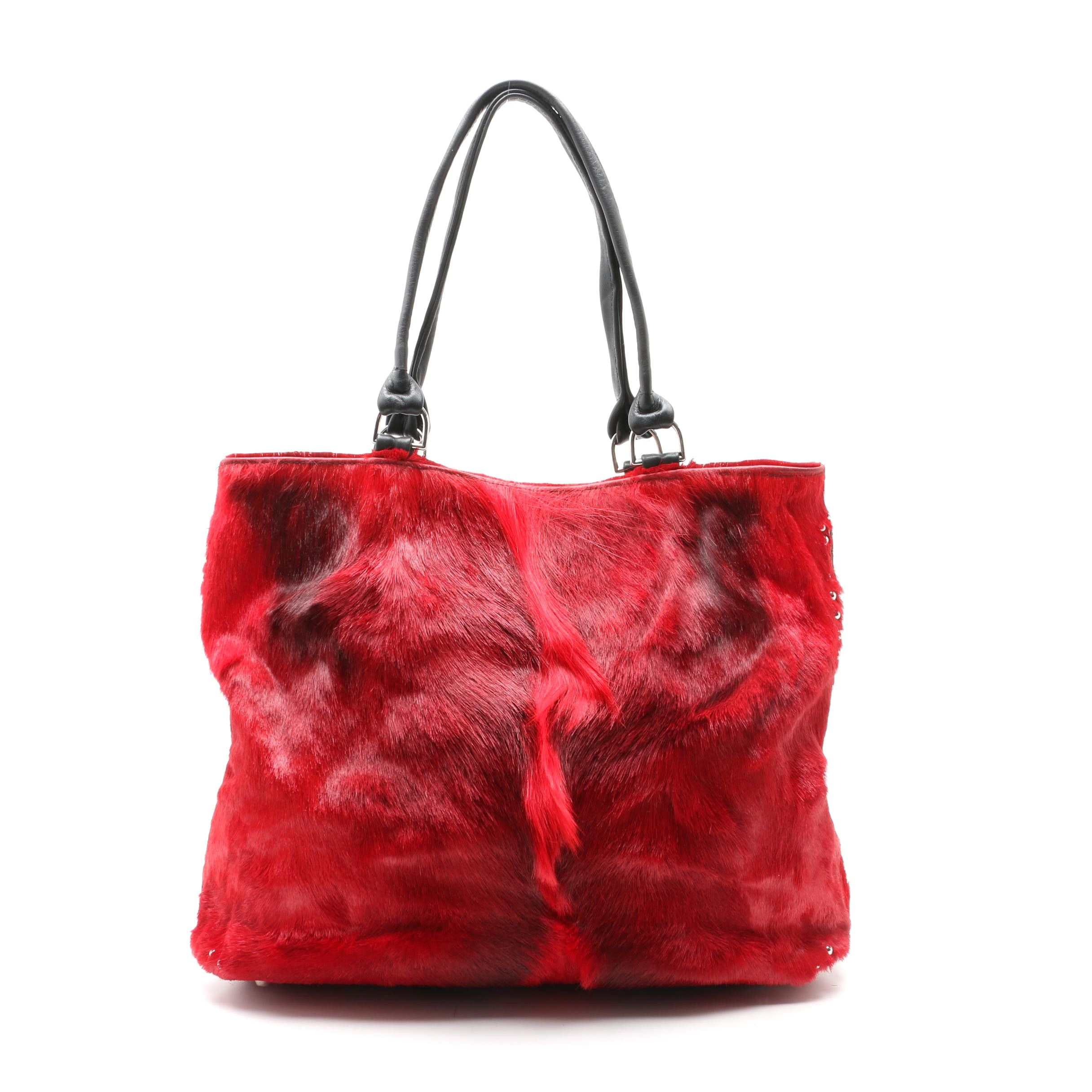 King Ranch Dyed Red Cowhide and Black Leather Studded Tote Bag
