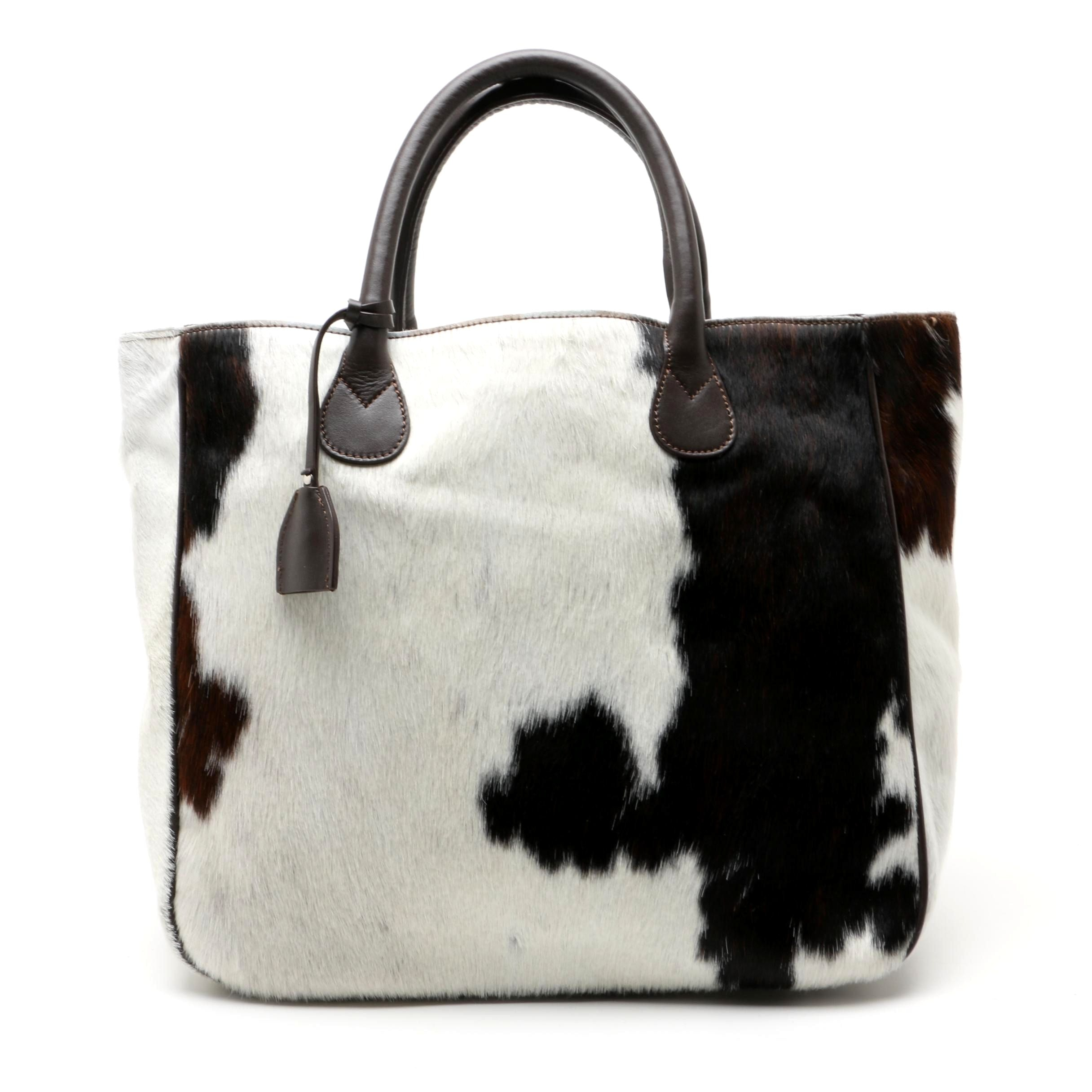 Mark and Graham Italian Leather and Pony Hair Tote Bag