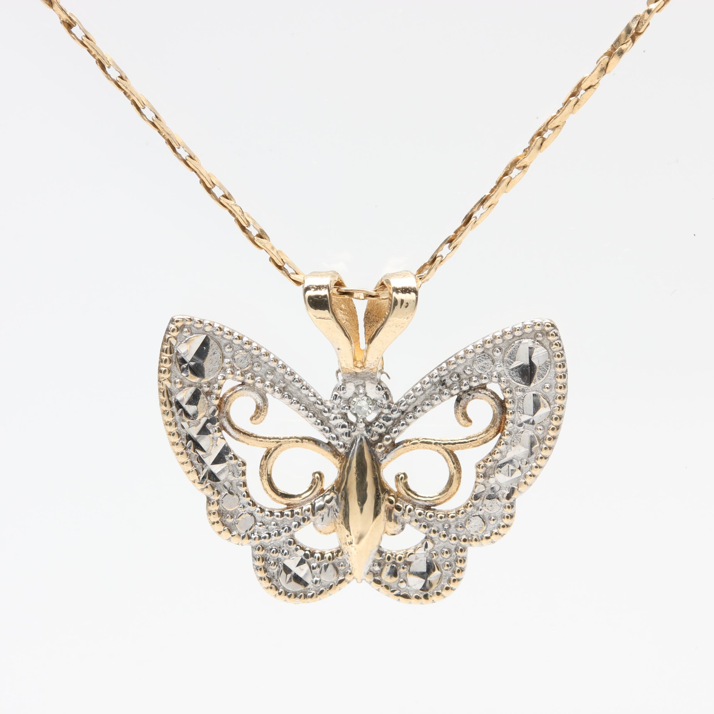 10K Two-Tone Gold Butterfly Pendant on 14K Yellow Gold Chain