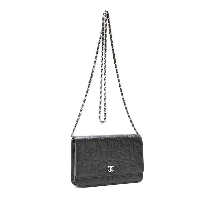 e6a168408930 Chanel Camellia Black Floral Embossed Lambskin Wallet on Chain Shoulder Bag    EBTH