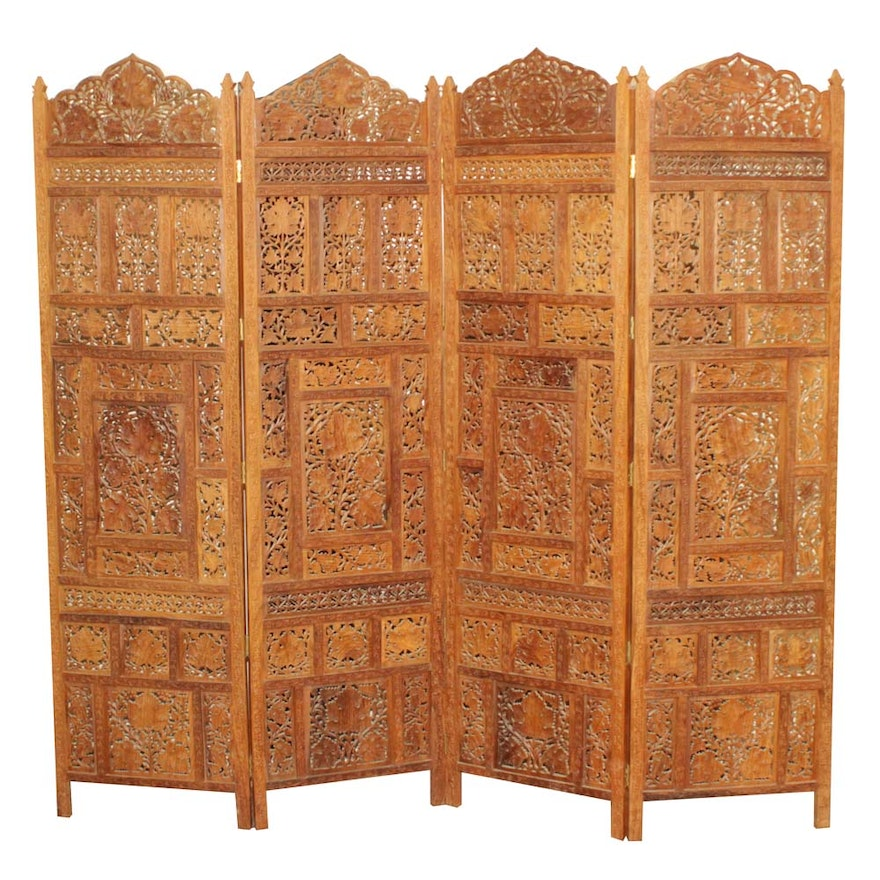 Indonesian Hand Carved 4 Panel Wooden Room Divider