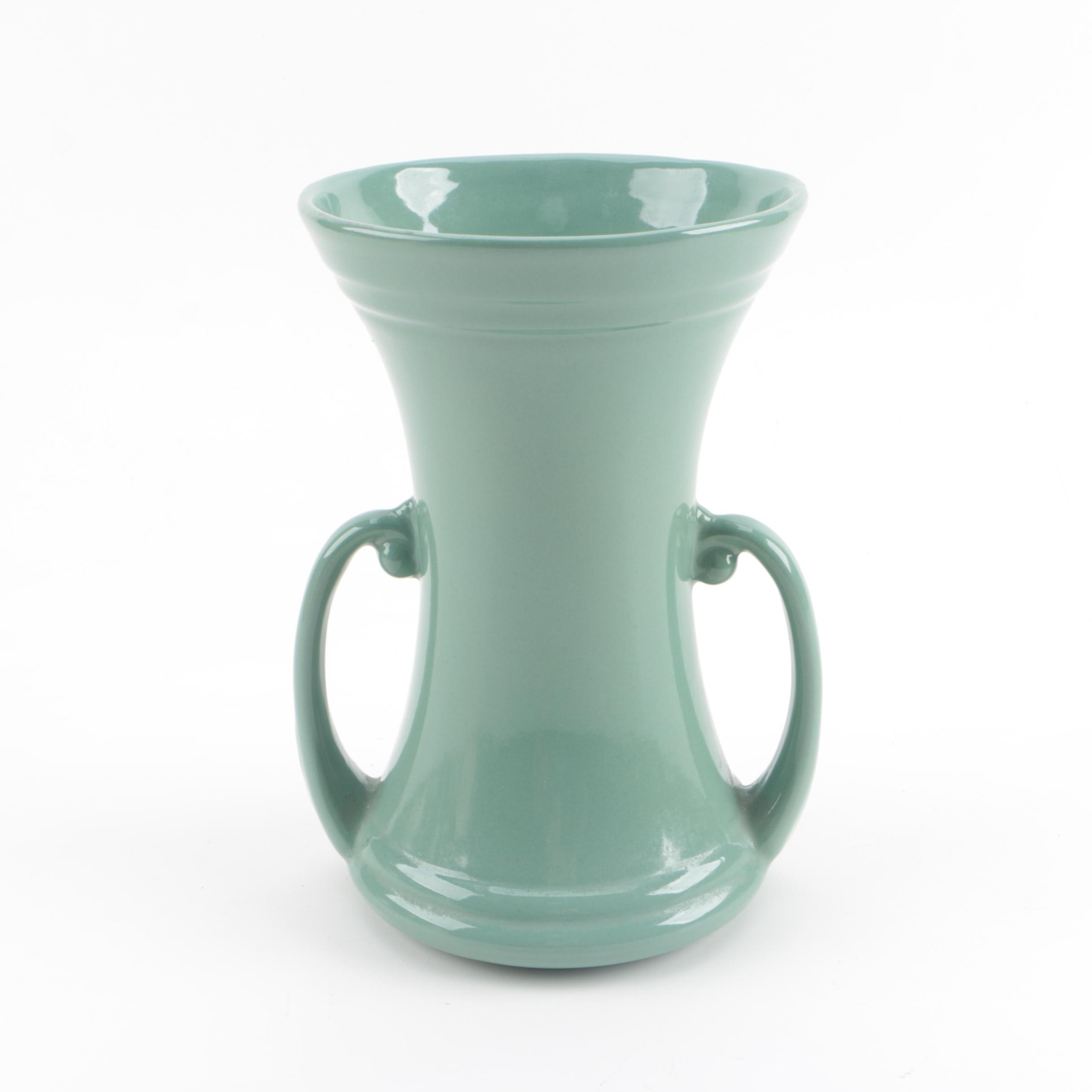 Circa 1940s Abingdon Pottery Green Ceramic Vase