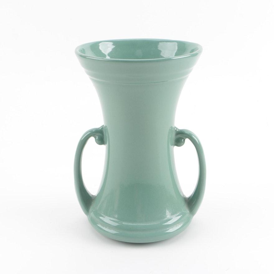Circa 1940s Abingdon Pottery Green Ceramic Vase Ebth