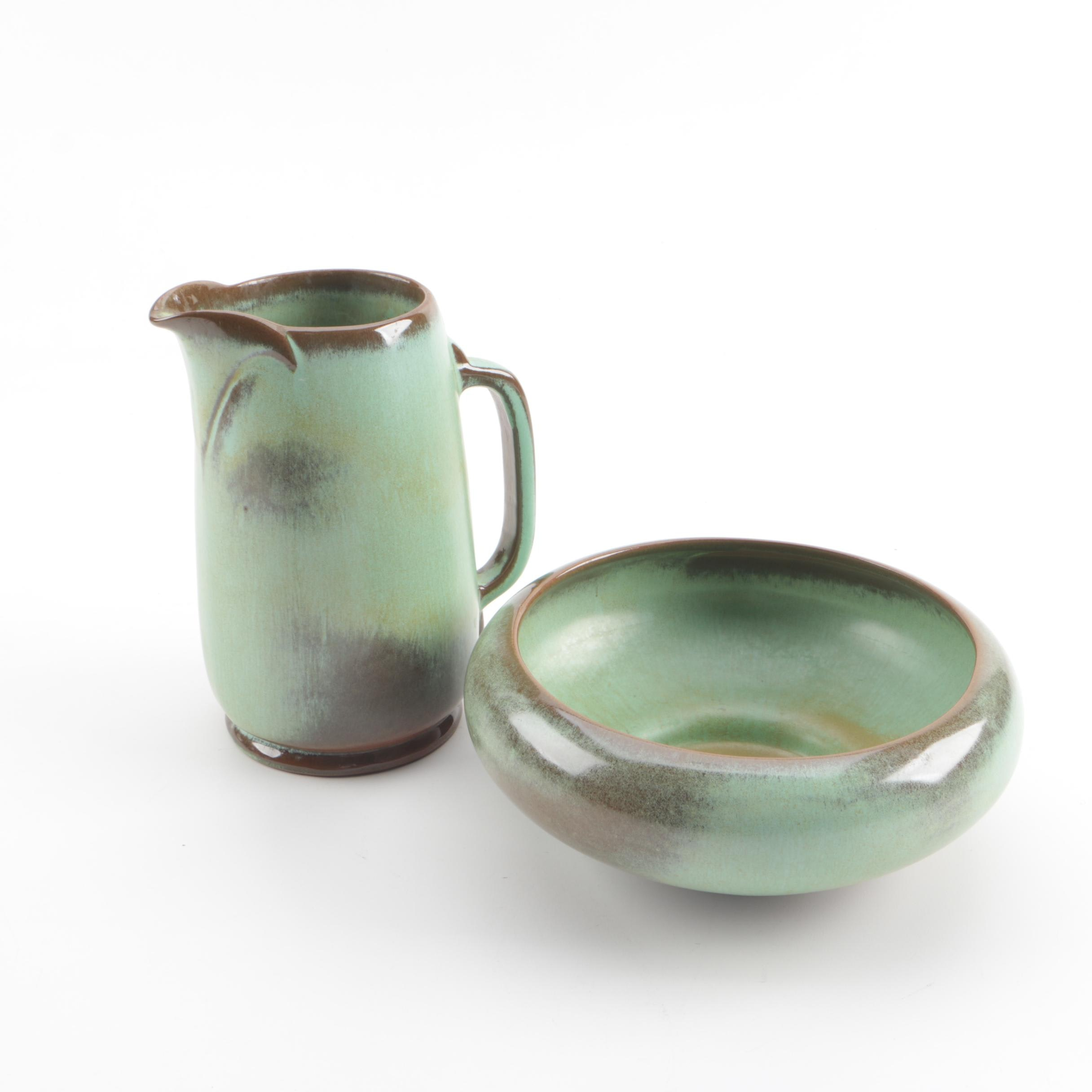 """Vintage Frankoma Pottery """"Prairie Green"""" Pitcher and Serving Bowl"""