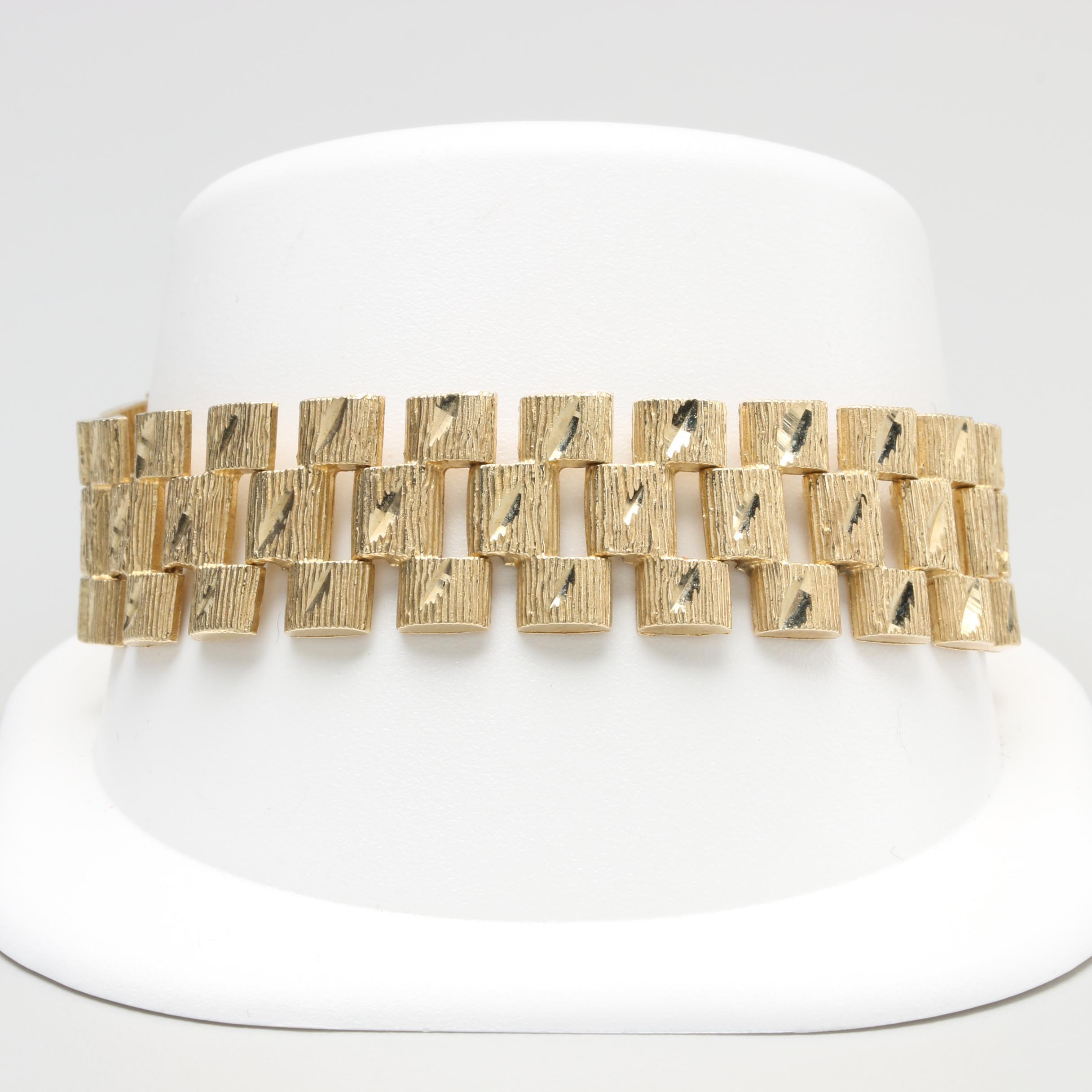 10K Yellow Gold Fancy Link Bracelet
