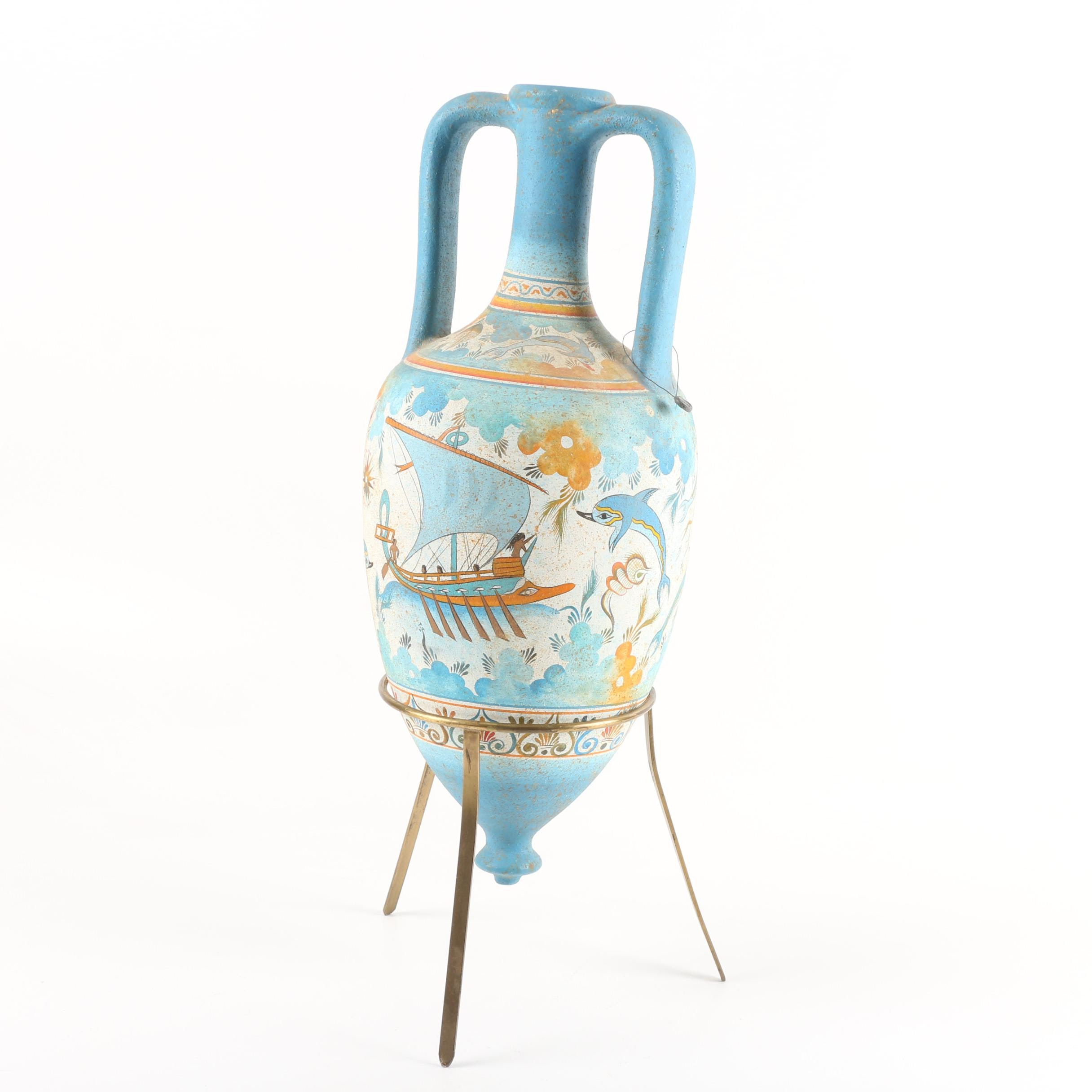 Hand-Painted Greek Ceramic Amphora Featuring Sea Motif and a Metal Stand