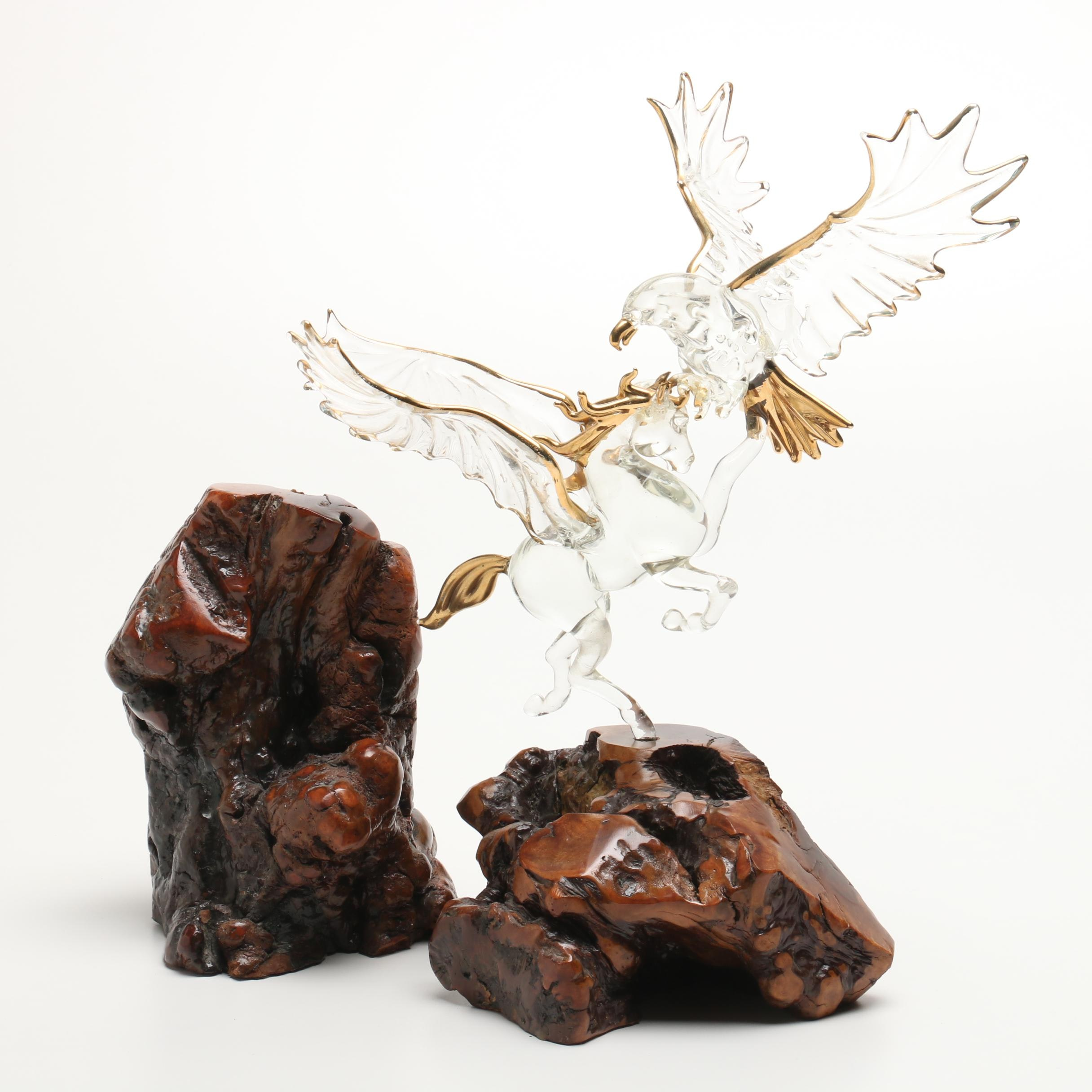 Knotted Burlwood and Glass Decor Figurine
