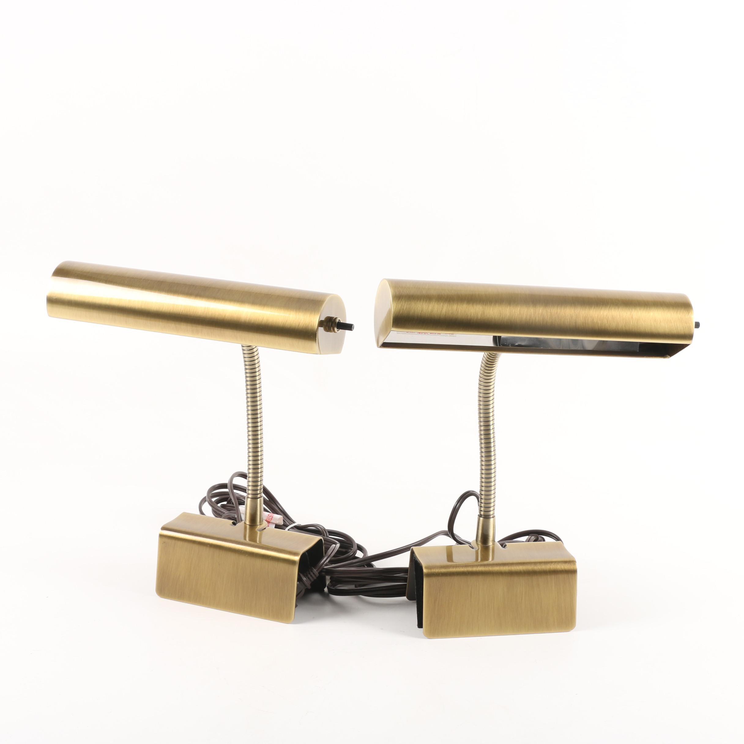 Brushed Brass Finished Metal Gooseneck Clamp Desk Lamps