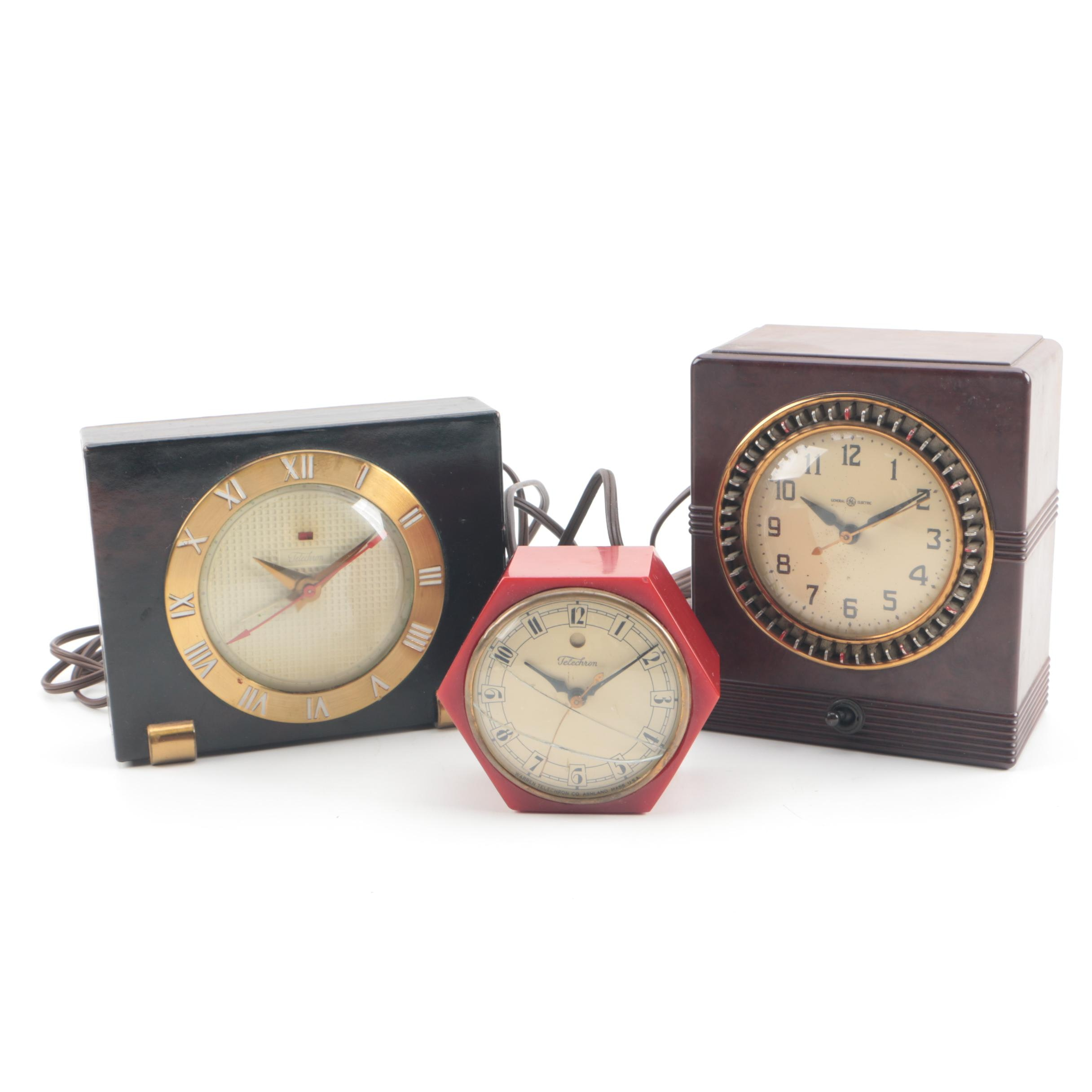 Vintage Bakelite and Telechron and General Electric Shelf Clocks and Timer Clock