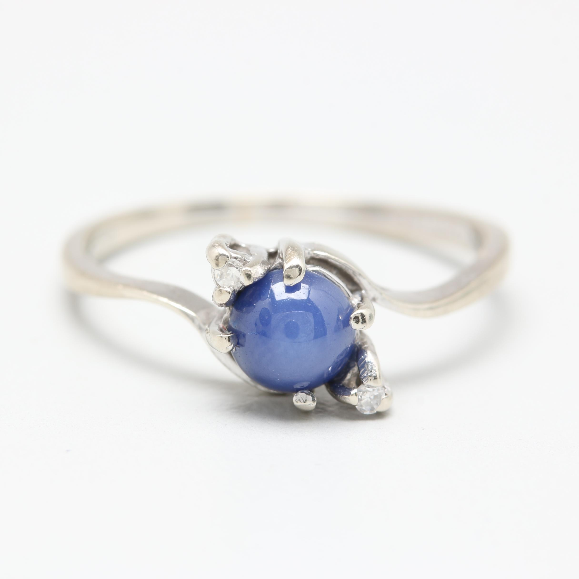 10K White Gold Synthetic Star Sapphire and Diamond Ring