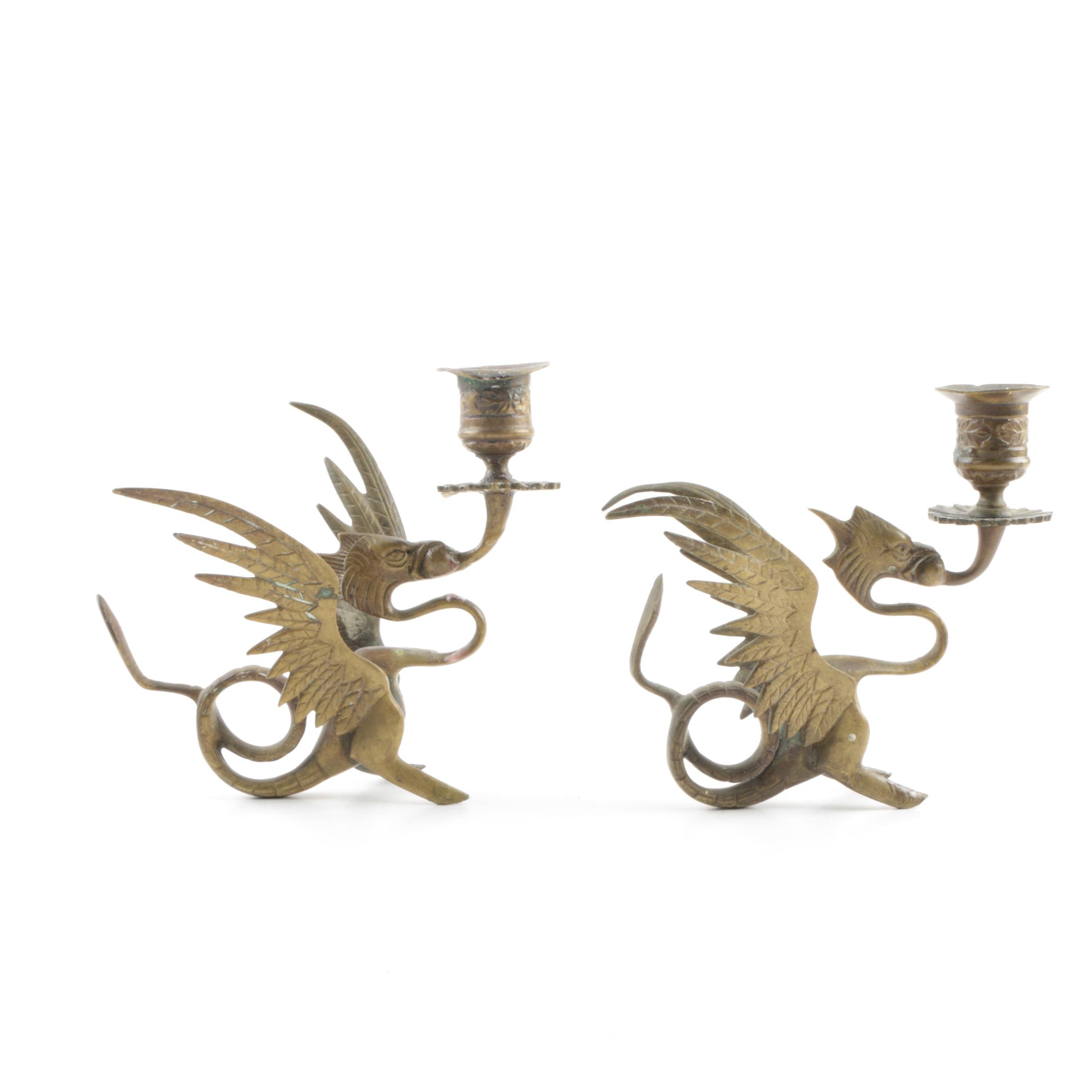 Asian Inspired Brass Figurative Dragon Candlestick Holders
