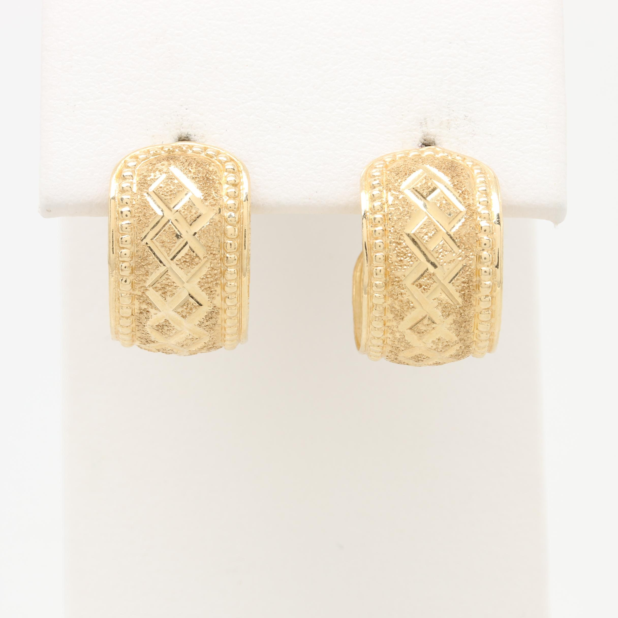 14K Yellow Gold Textured Hoops with Beaded Accents