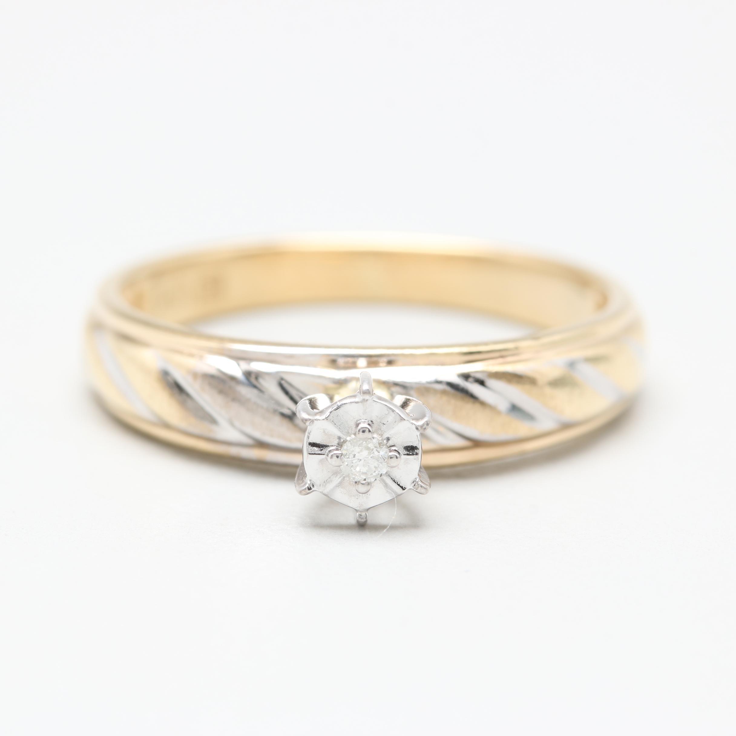 10K Yellow Gold Illusion Set Diamond Solitaire Ring