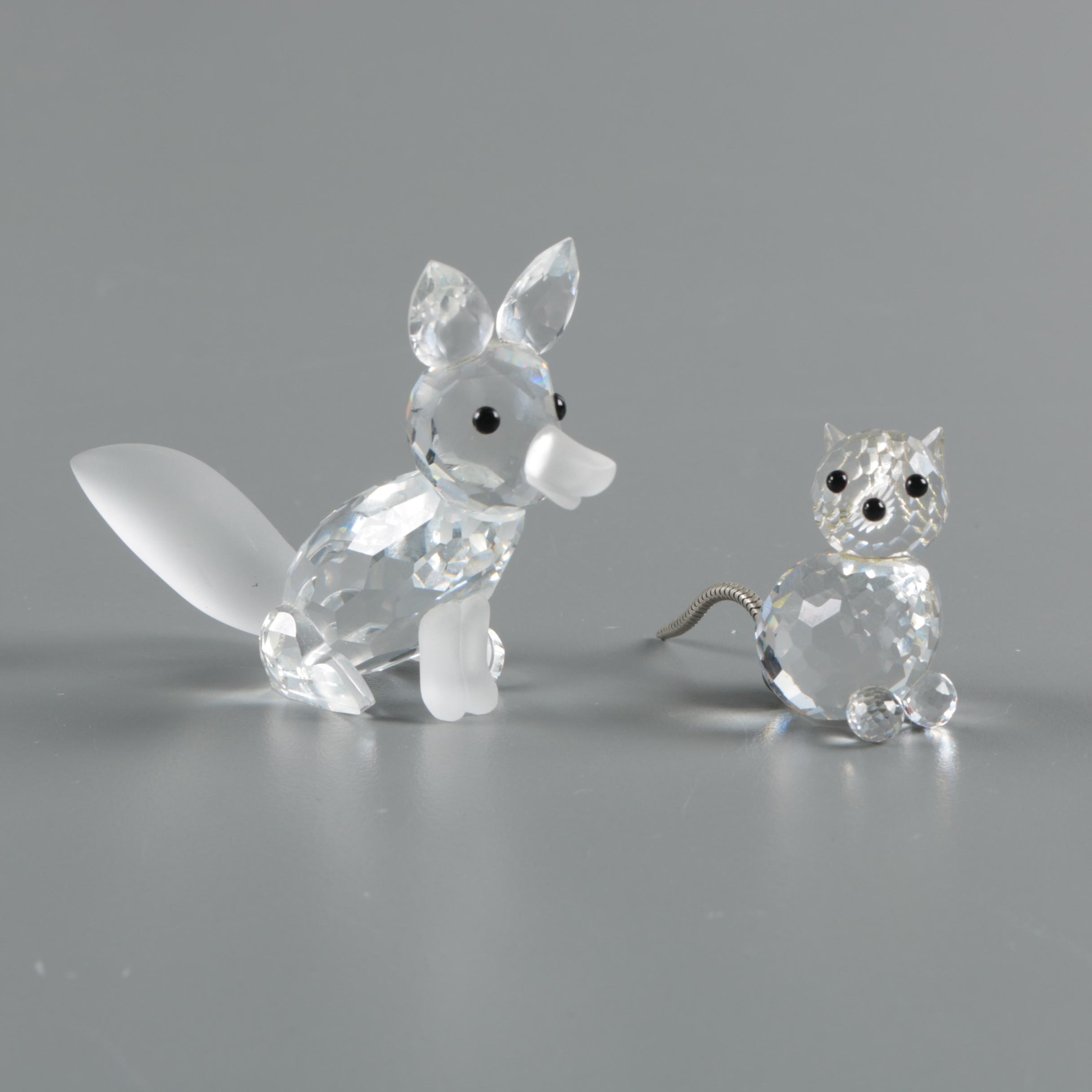 "Vintage Swarovski Crystal Large ""Fox"" and Miniature ""Cat"" and Figurines"