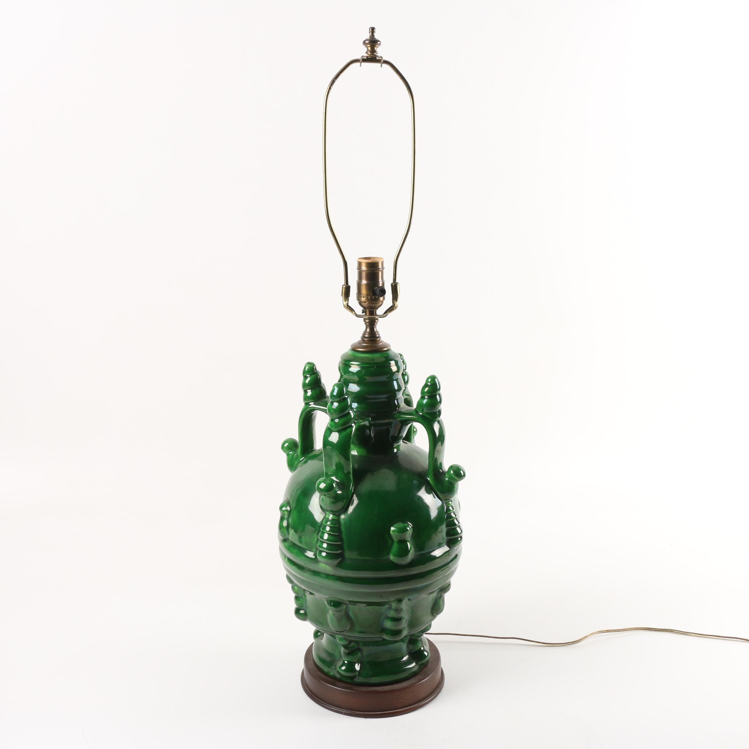 Iridescent Green Glazed Urn Shaped Table Lamp styled after Frederick Cooper