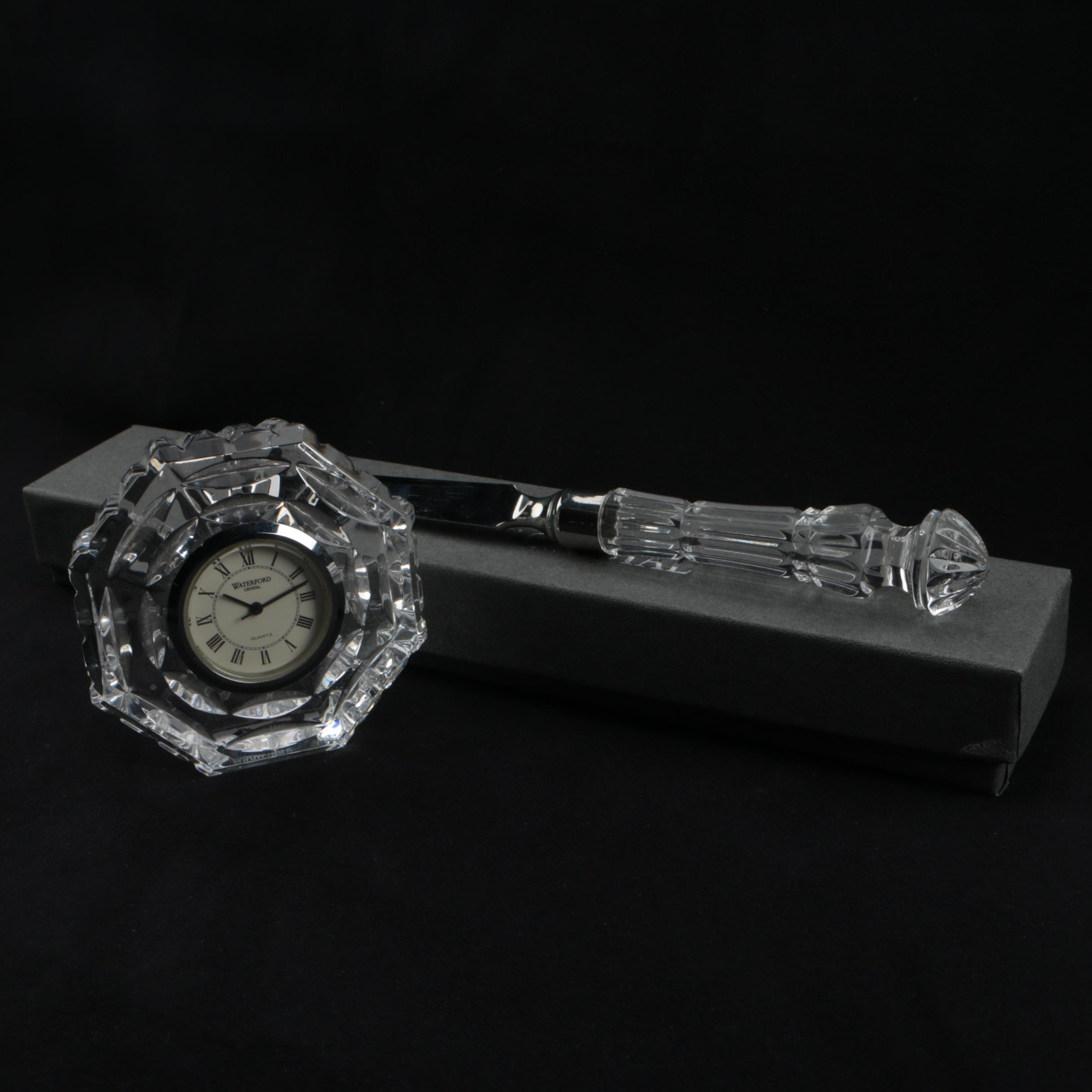 Waterford Crystal Octagonal Clock and Letter Opener