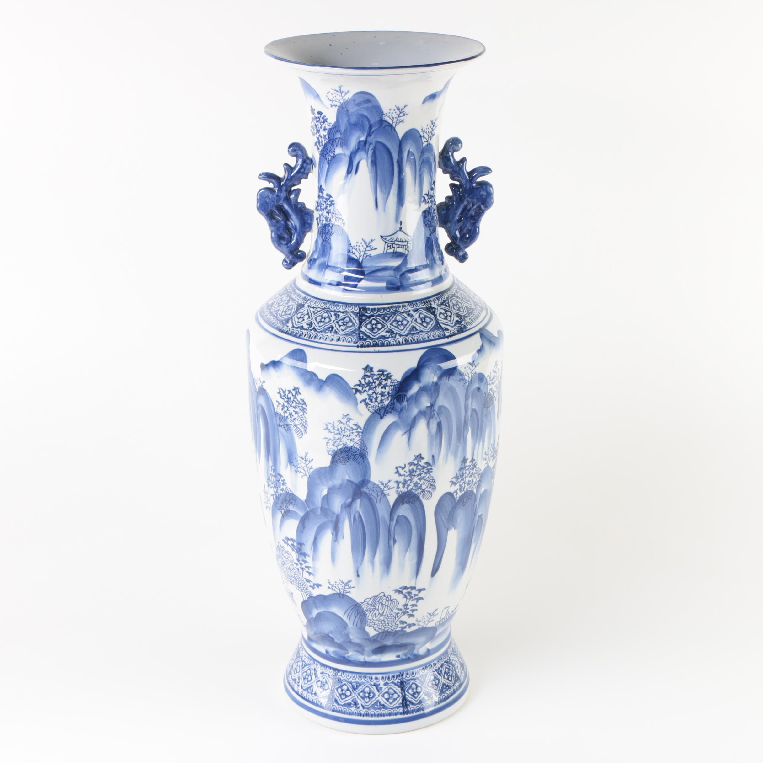 Chinese Blue And White Ceramic Floor Vase Ebth
