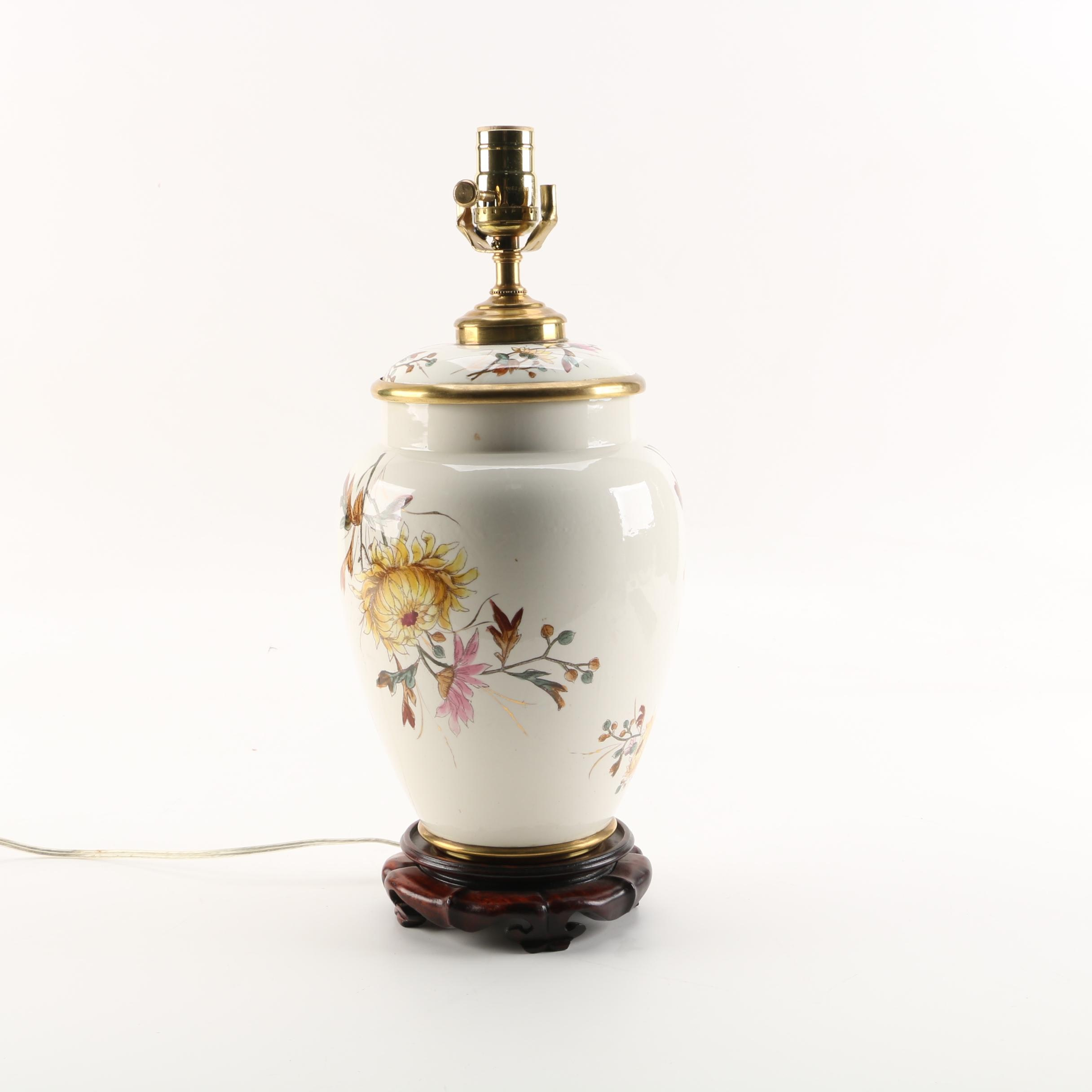 English Porcelain Transferware Table Lamp on Carved Wooden Base