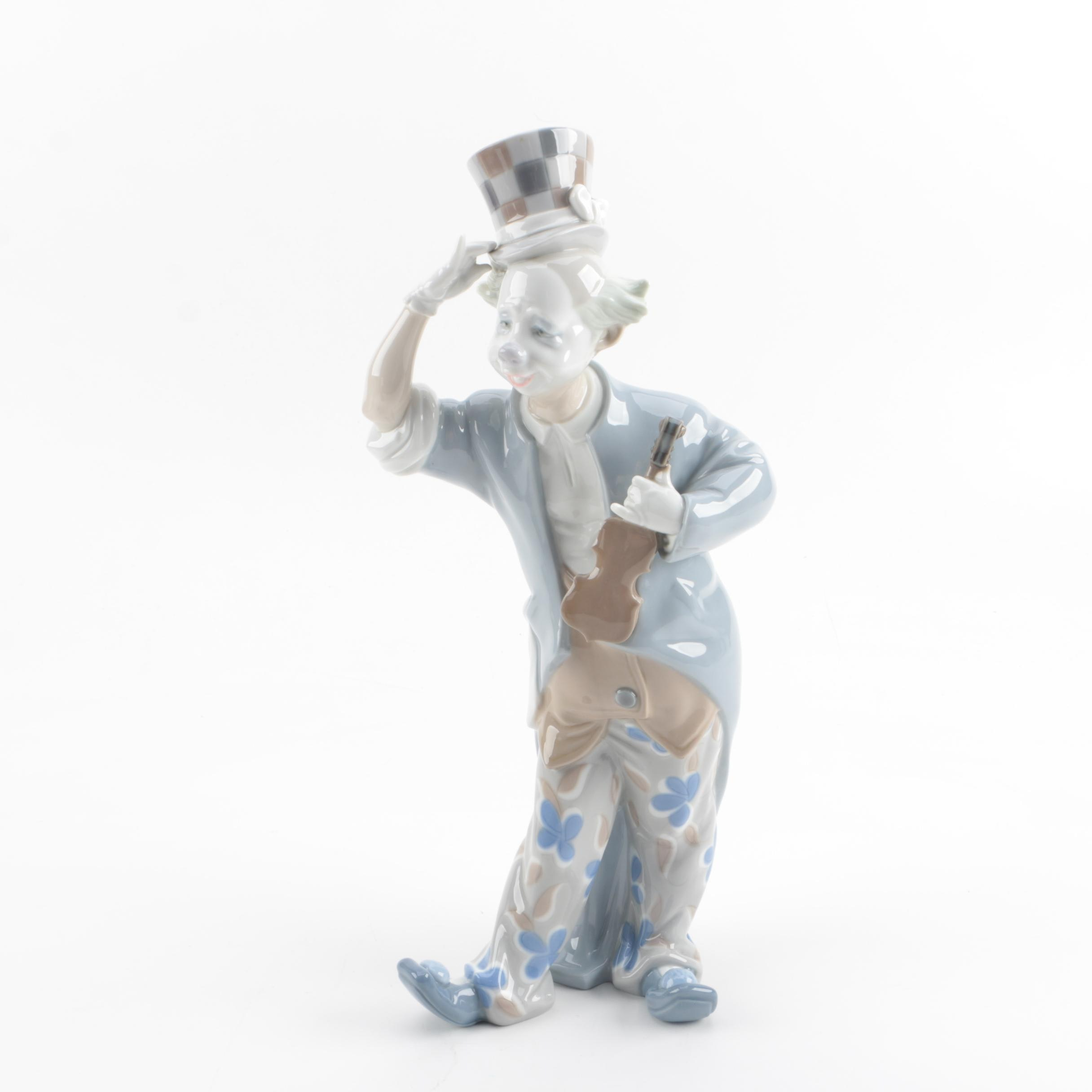 "Lladró ""Clown with Violin"" Porcelain Figurine"