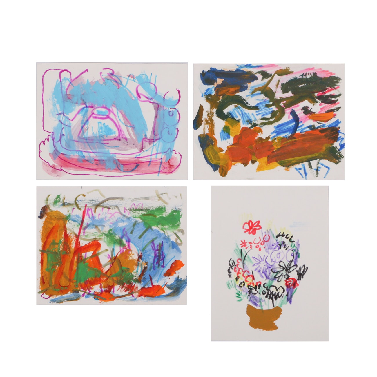 Four Paul Chidlaw Original Mixed Media Paintings on Paper
