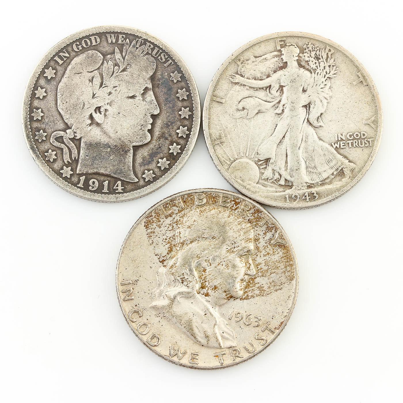 Barber, Walking Liberty, and Franklin Half Dollars 1914-1963