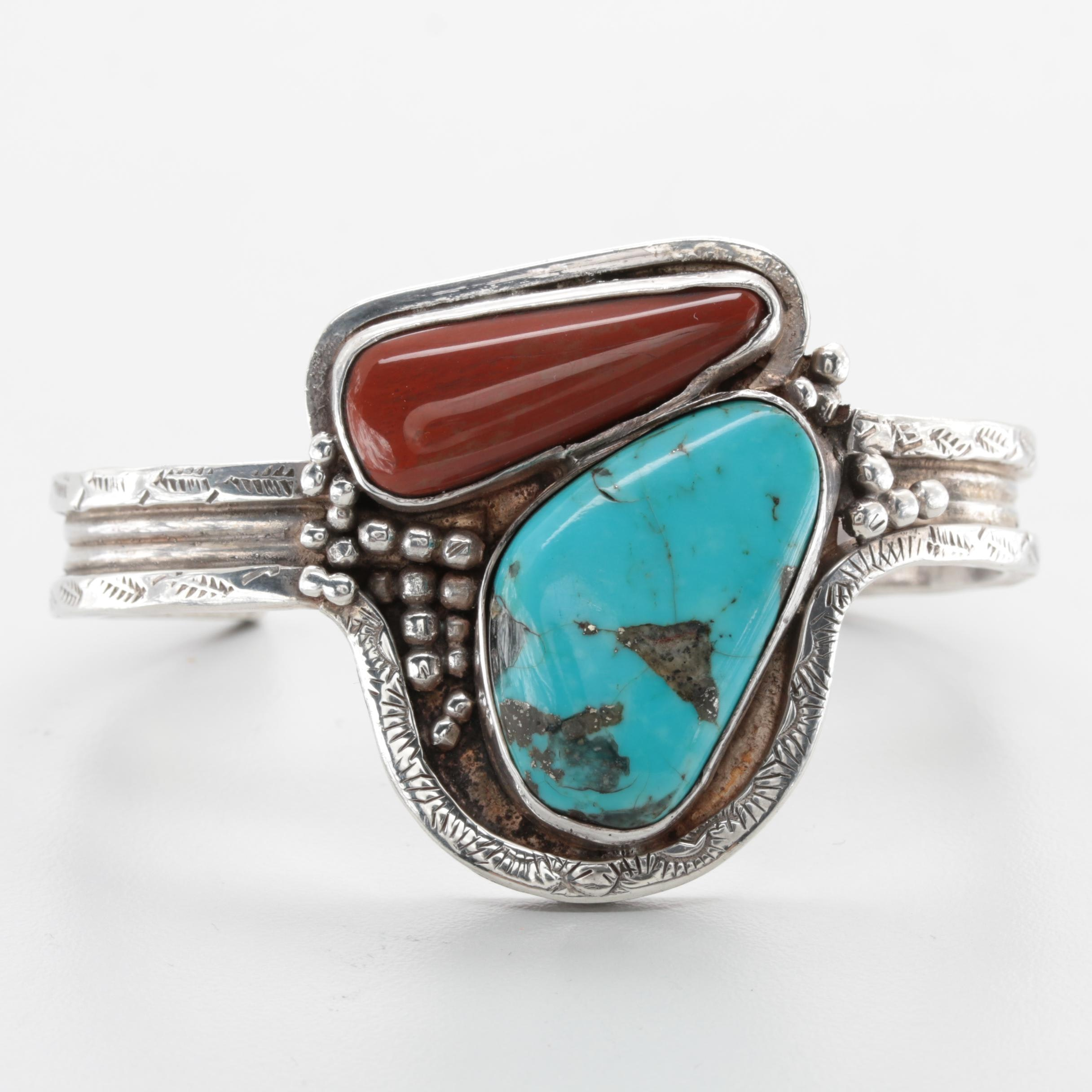 Southwestern Style Sterling Silver Turquoise and Agate Cuff Bracelet