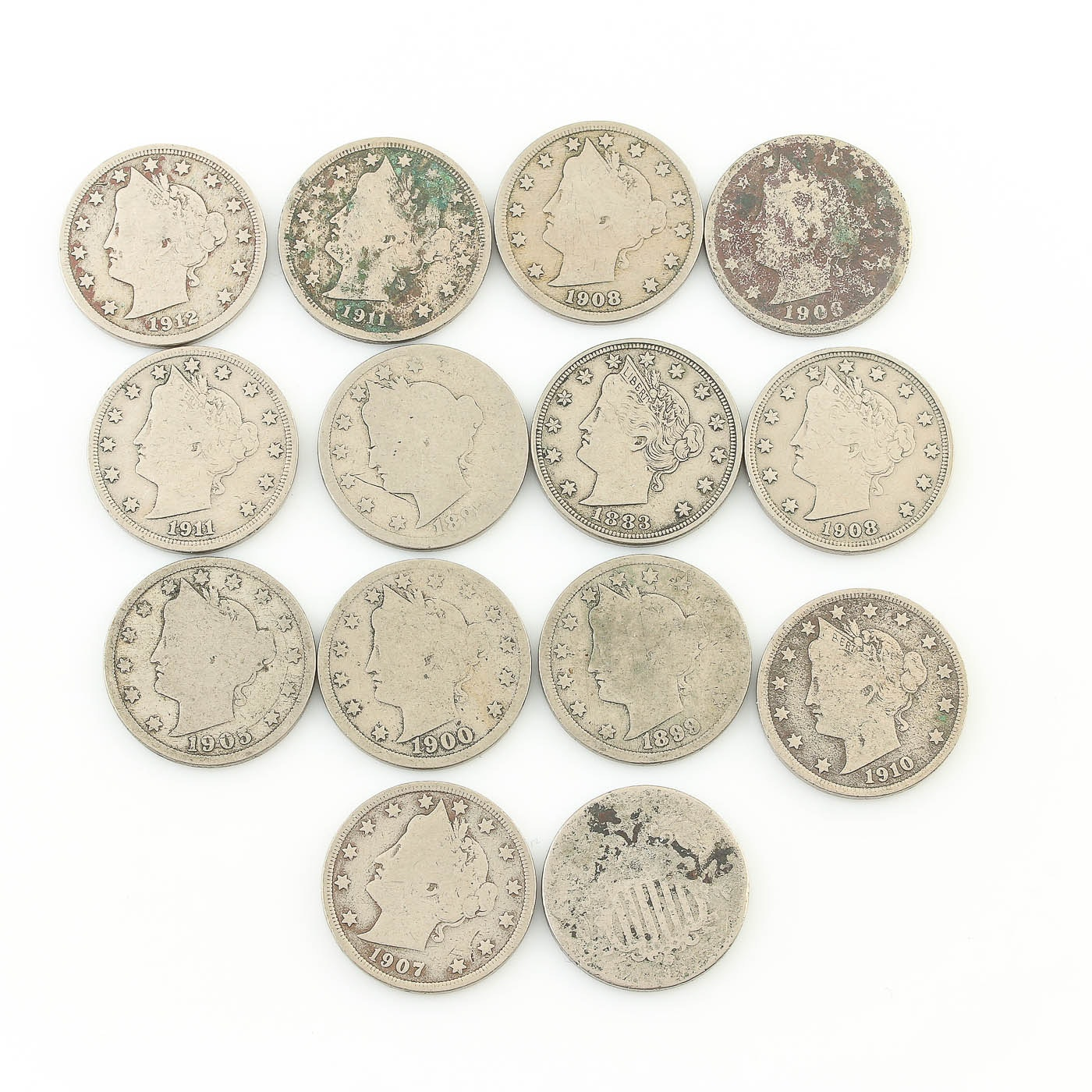 """Collection of Liberty """"V"""" Nickels Ranging in Date from 1883 to 1912"""