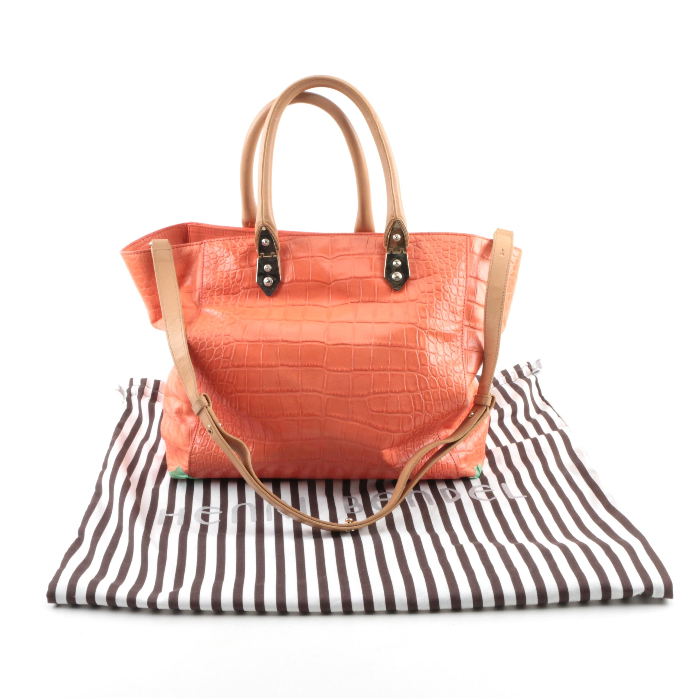 Henri Bendel Alligator Embossed Orange and Tan Ombre Leather Convertible Satchel