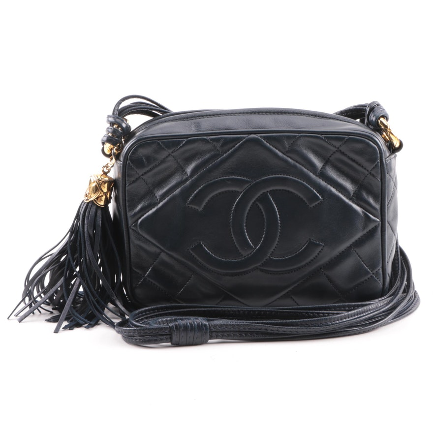 3fcb96b4f5ff Early 1990s Chanel Navy Blue Quilted Leather Shoulder Bag   EBTH